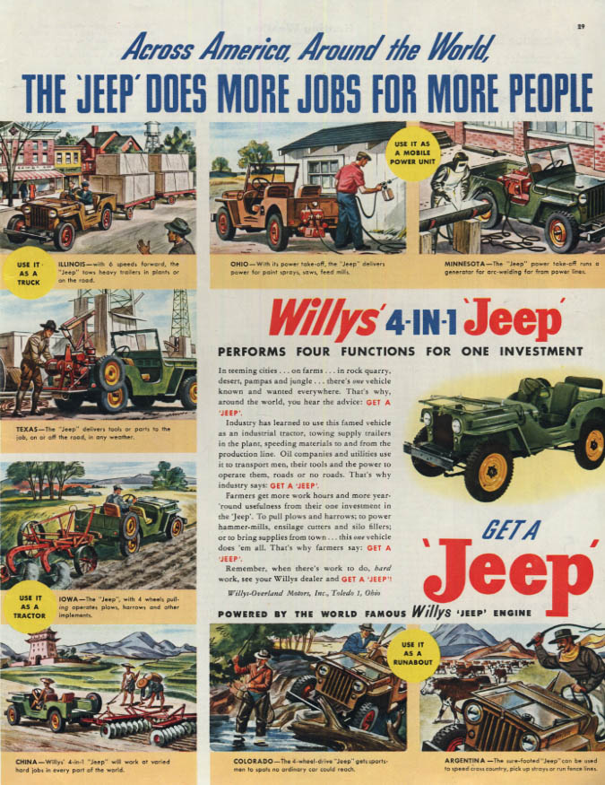 Image for Willys 4-in-1 Jeep does more jobs for more people ad 1946 Col