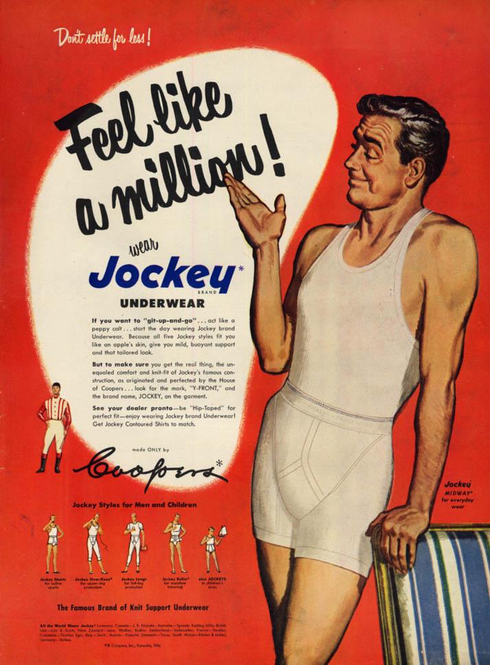 Image for Feel like a million! Wear Jockey Men's Underwear ad 1951 L