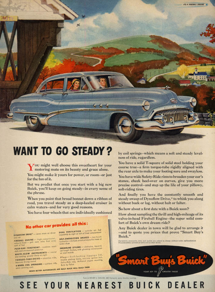 Image for Want to go steady? Buick 4-door sedan ad 1951 L