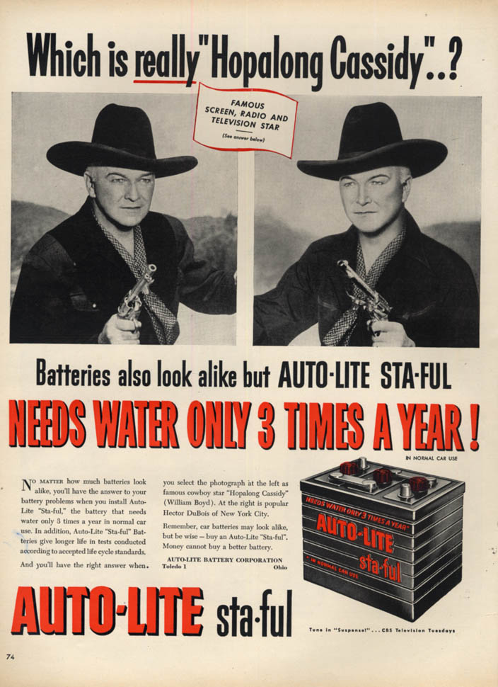 Image for Which is really Hopalong Cassidy? Bill Boyd for Auto-Lite Batteries ad 1951 L