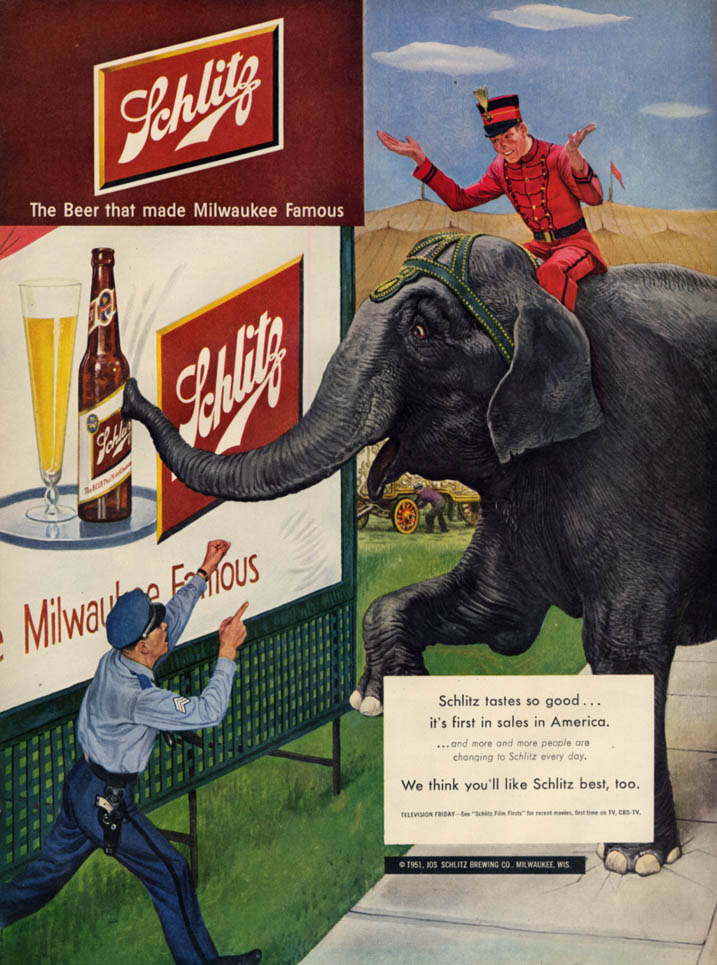 Image for Schlitz beer first in sales in America ad 1951 circus elephant sees billboard L