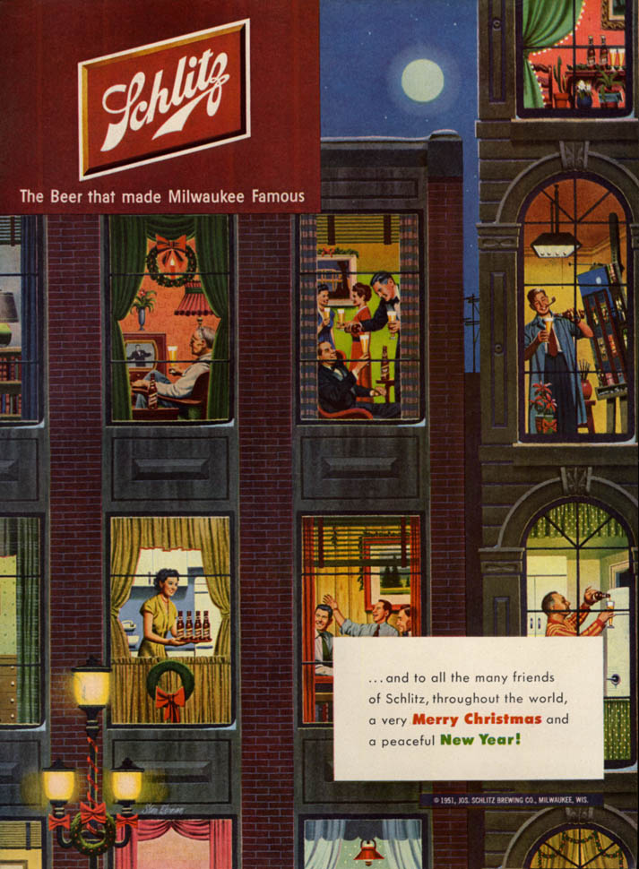 Image for Merry Christmas Happy New Year Schlitz Beer ad 1951 apartment building view L