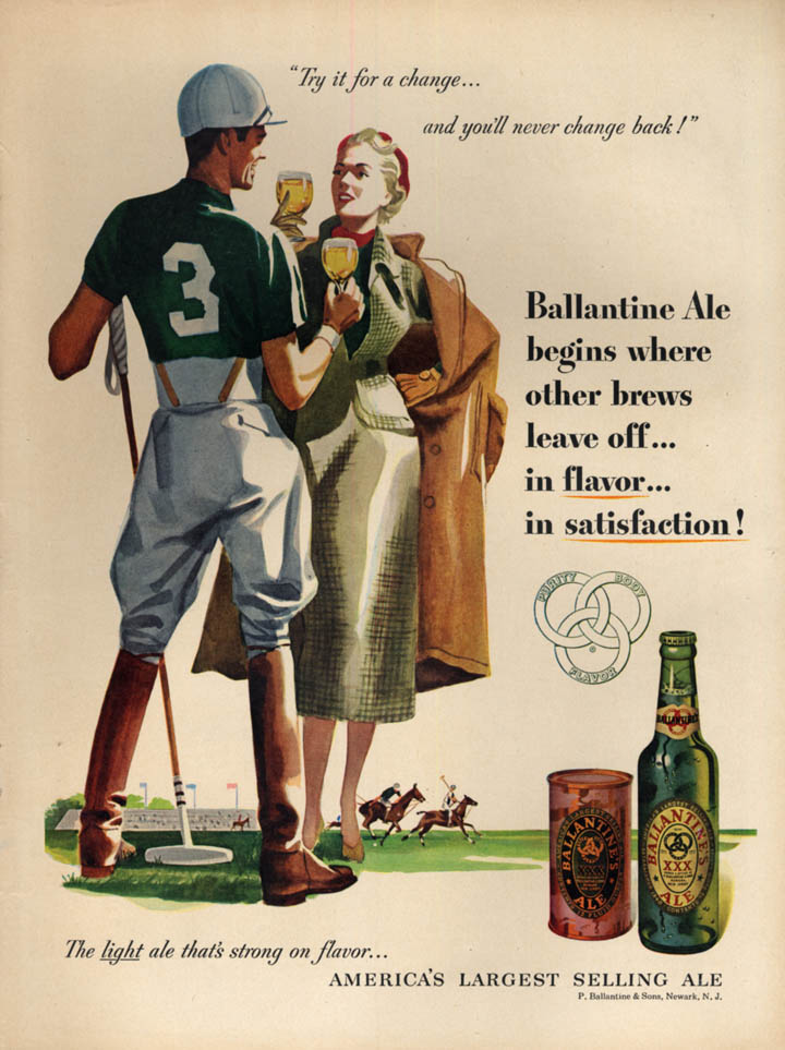 Image for Try it for a change Ballantine Ale ad 1951 polo match L