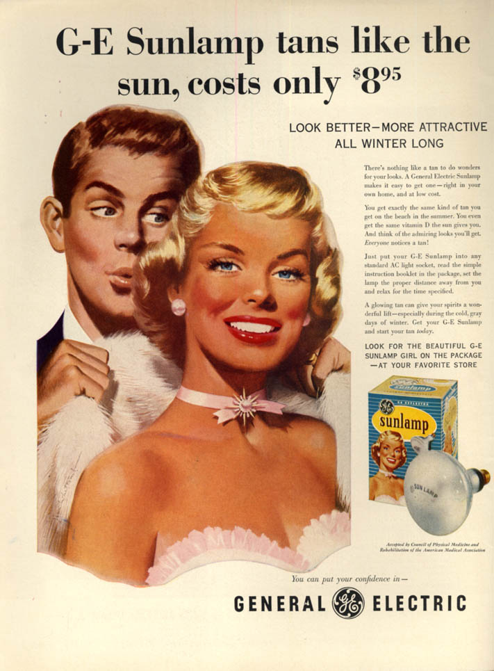 Image for General Electric Sunlamp tans like the sun, costs only $8.95 ad 1954 Jon Whicomb