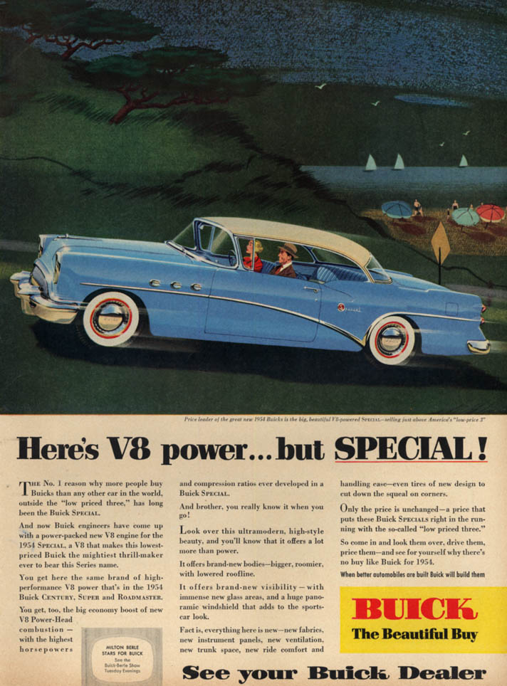 Image for Here's V8 power but - Buick Special 2-door hardtop ad 1954 L