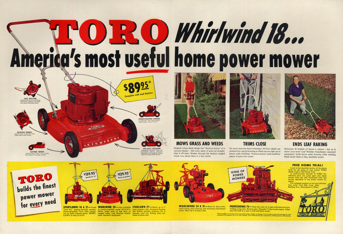 America's most useful Toro Whirlwind 18 rotary lawn mower ad 1954 L