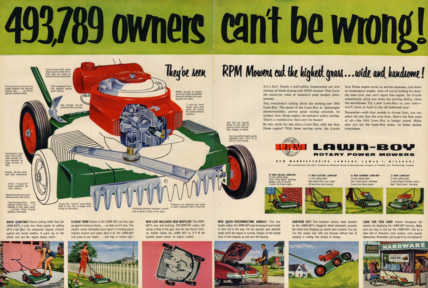 493,789 owners can't be wrong! Lawn-Boy Rotary Lawn Mower ad 1954 L