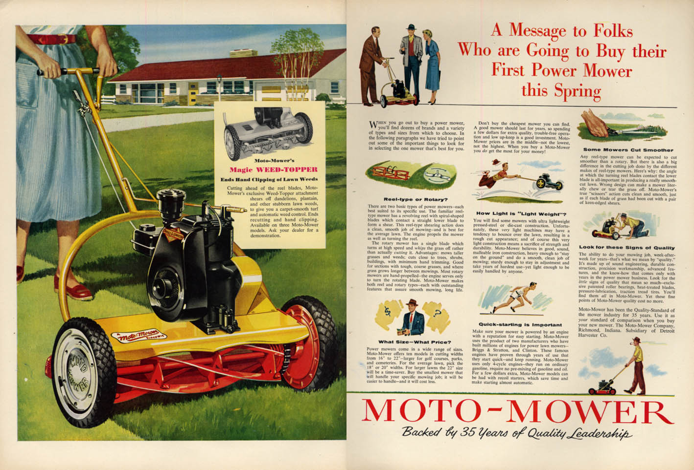 Image for Message to Folks Buying their First Power Mower - Motor-Mower lawn mower ad 1954