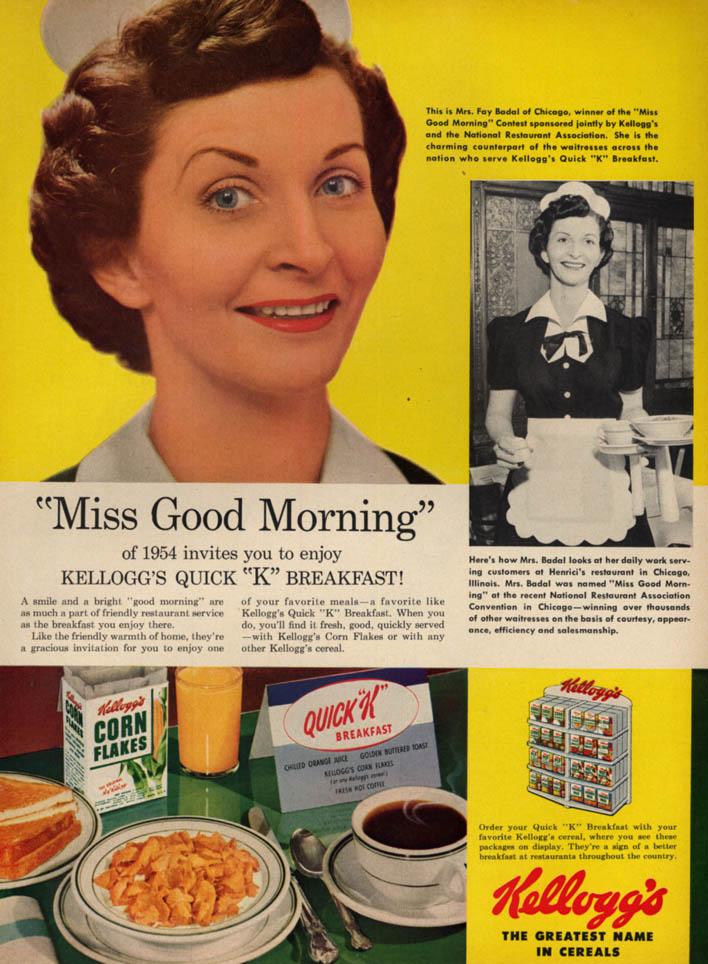 Image for Kellogg's Miss Good Morning winner Mrs Fay Badal of Chicago ad 1954 L