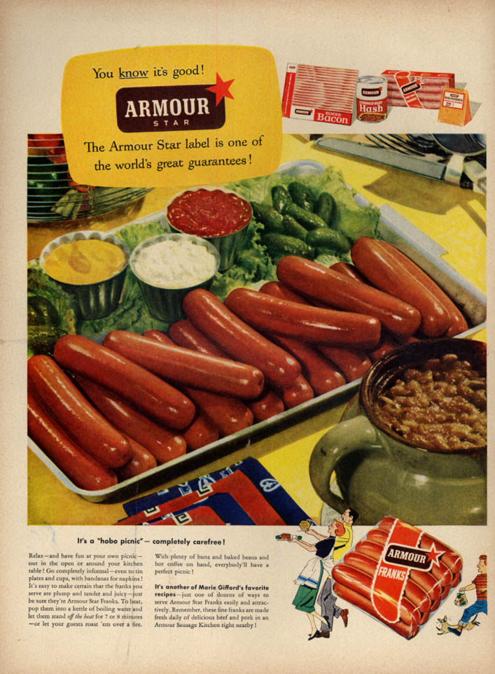 Image for It's a hobo picnic - completely carefree! Armour Frankfurters ad 1952 hot dog L