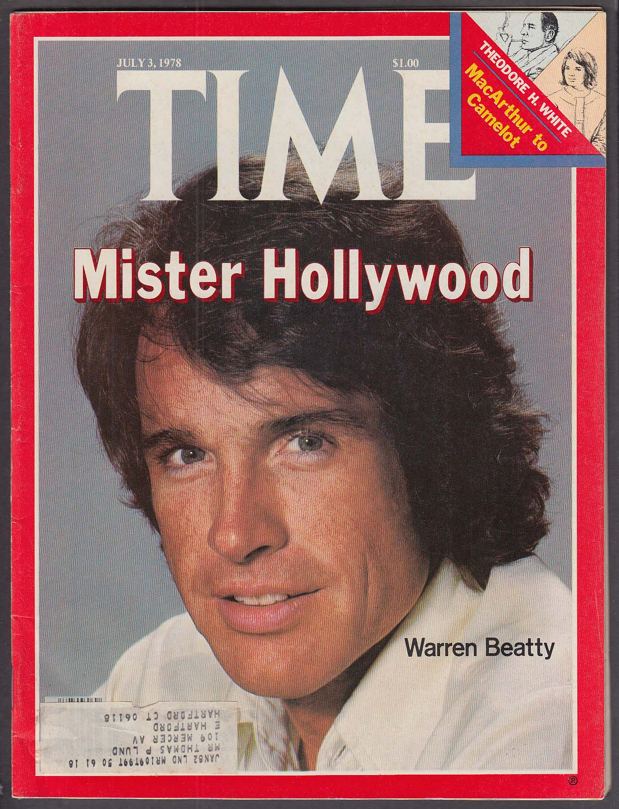 Image for TIME Warren Beatty Theodore H White MacArthur to Camelot 7/3 1978