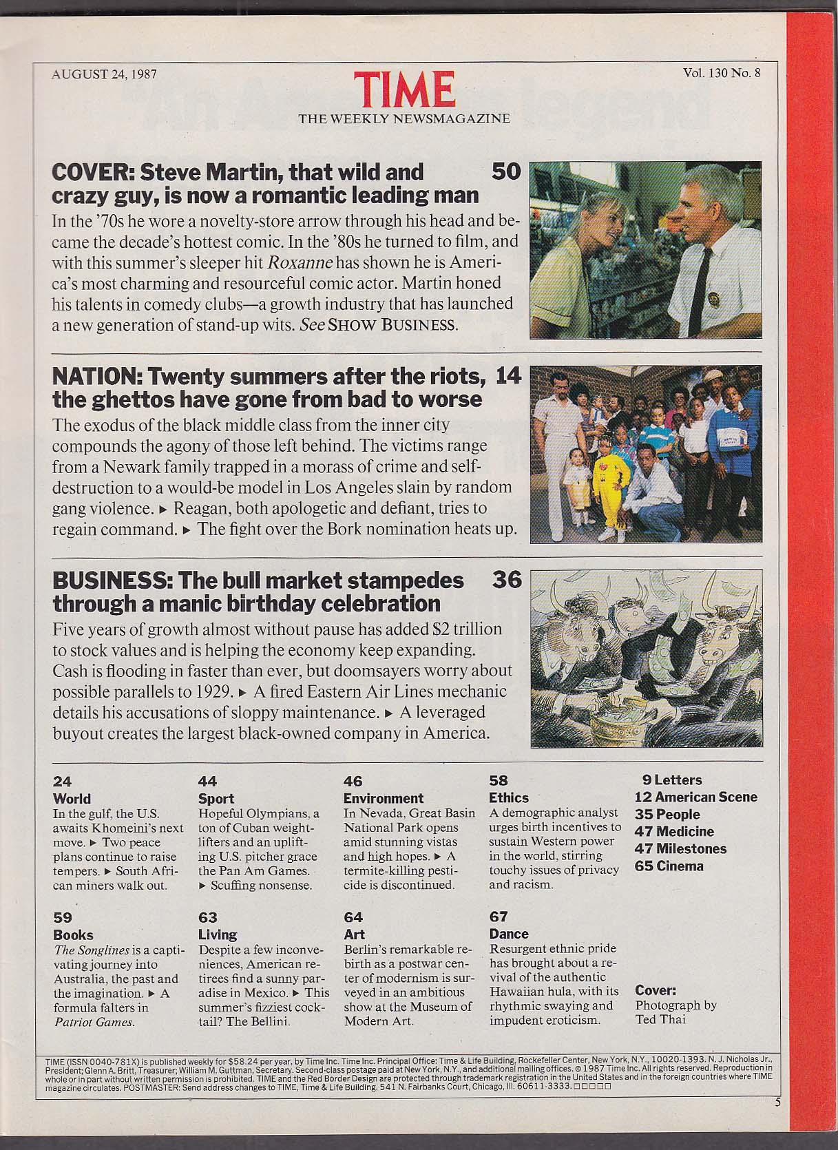 Image for TIME Steve Martin; American ghettos 8/24 1987