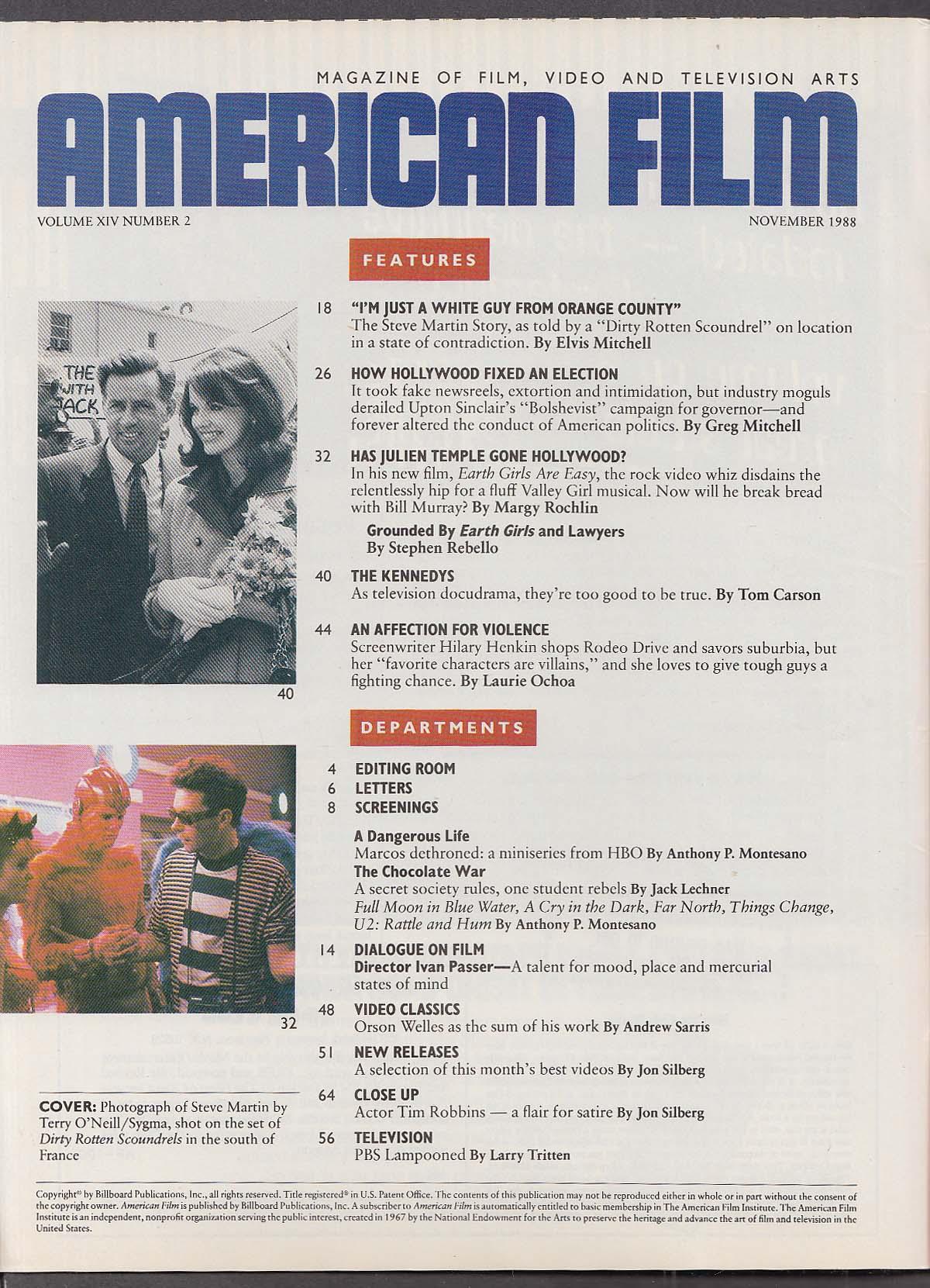 Image for AMERICAN FILM Steve Martin Julien Temple 11 1988