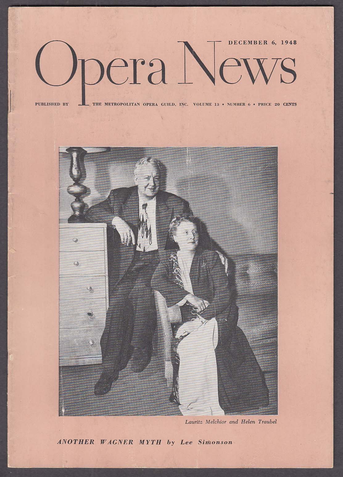 Image for OPERA NEWS Melchior Traubel 12/6 1948
