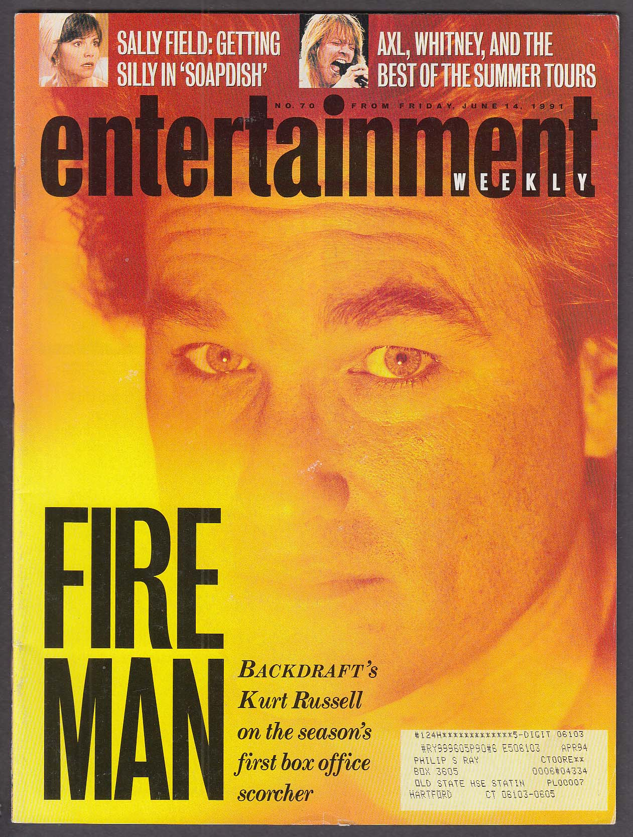 ENTERTAINMENT WEEKLY #76 Kurt Russell Axl Rose Sally Field + 6/14 1991