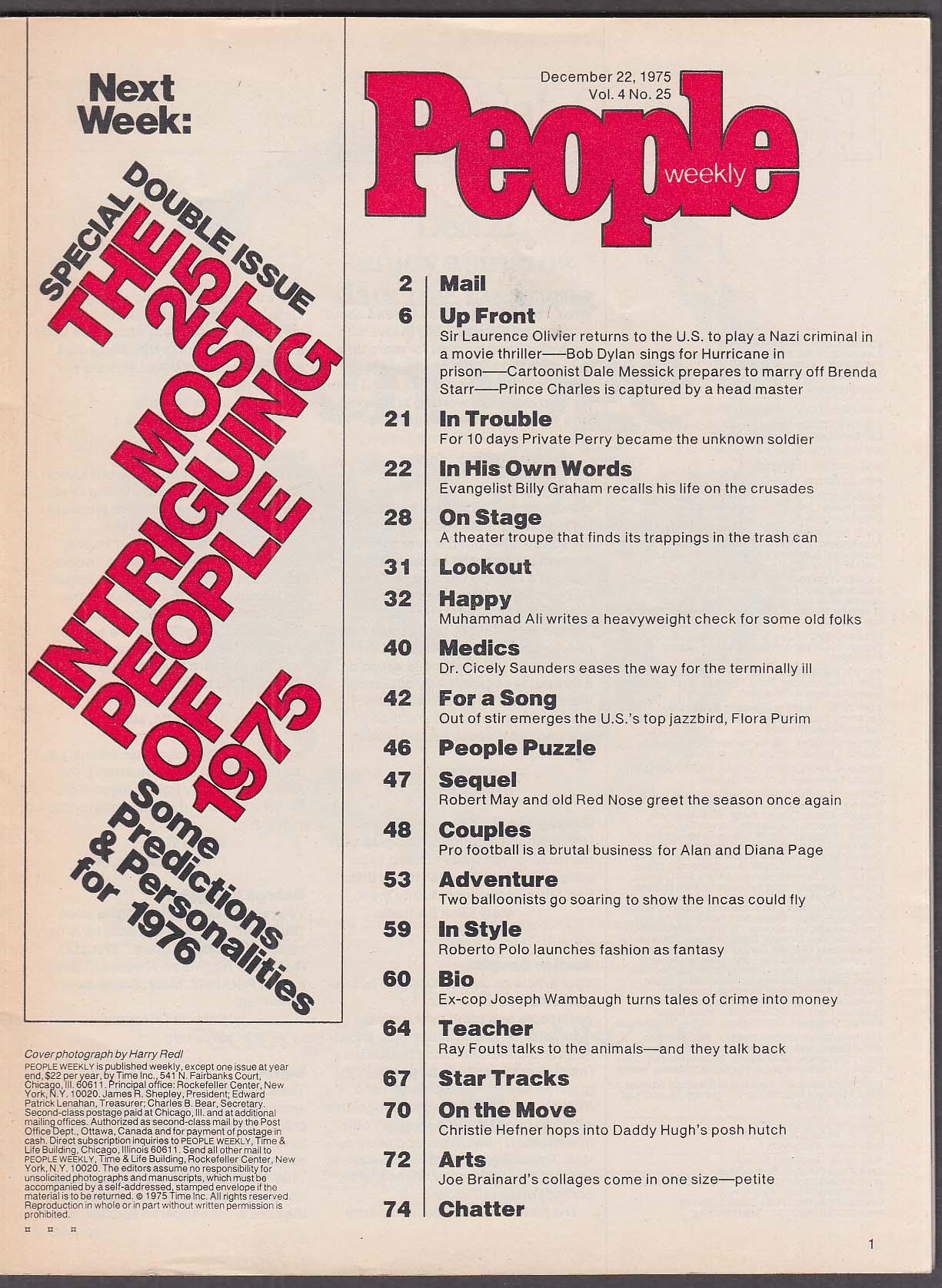 Image for PEOPLE Billy Graham Laurence Olivier Bob Dylan Brenda Starr 12/22 1975