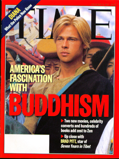 1997 film Seven Years in Tibet (feel free to send the wife though, Brad! Brad Pitt Seven Years in Tibet Time 10/13/97