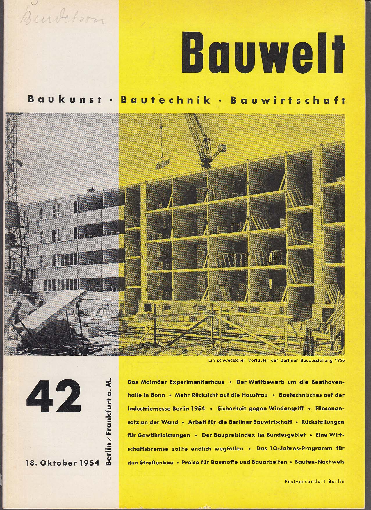 Image for Bauwelt #42 German architecture magazine 10/18 1954