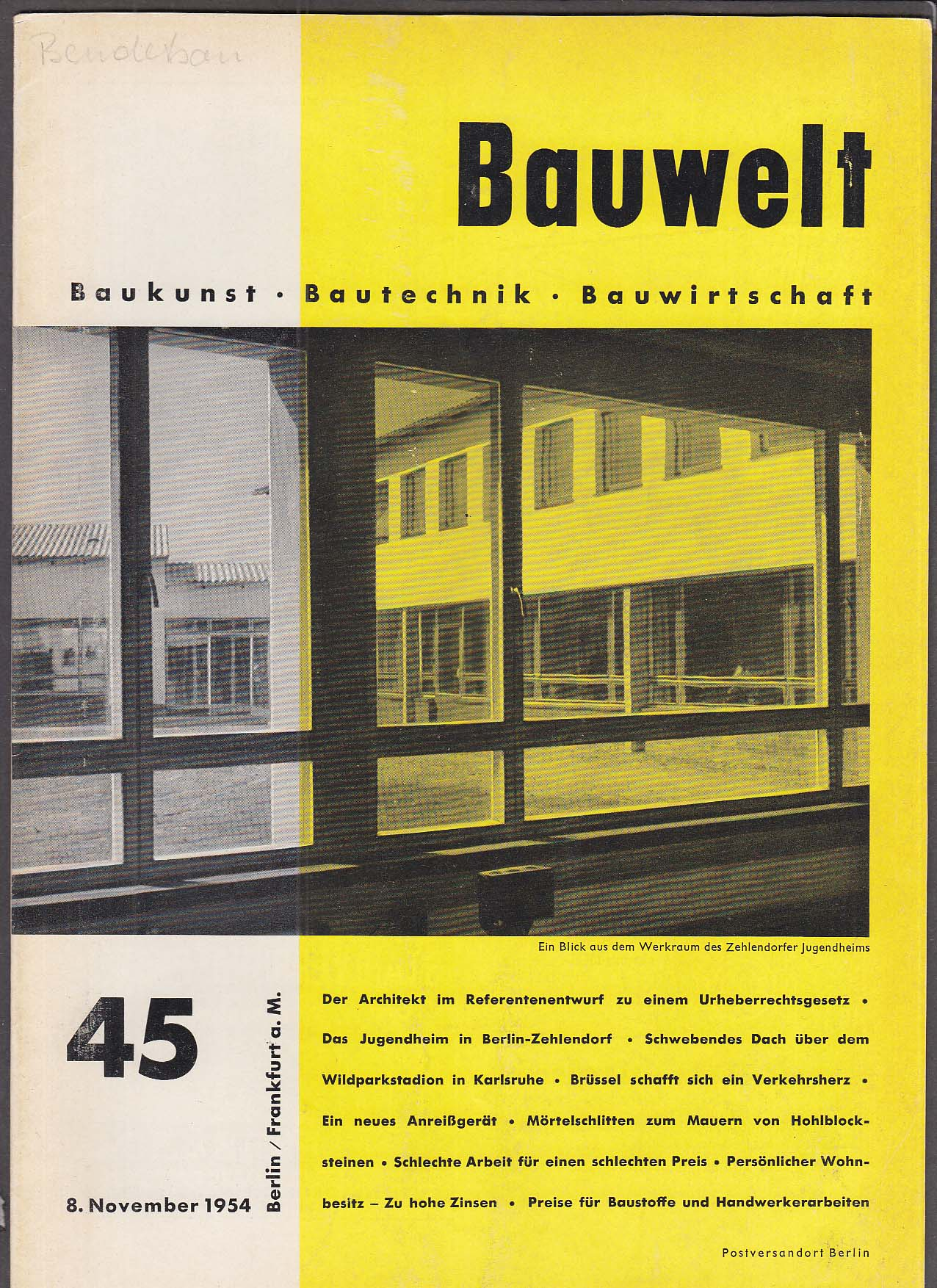 Image for Bauwelt #45 German architecture magazine 11/8 1954