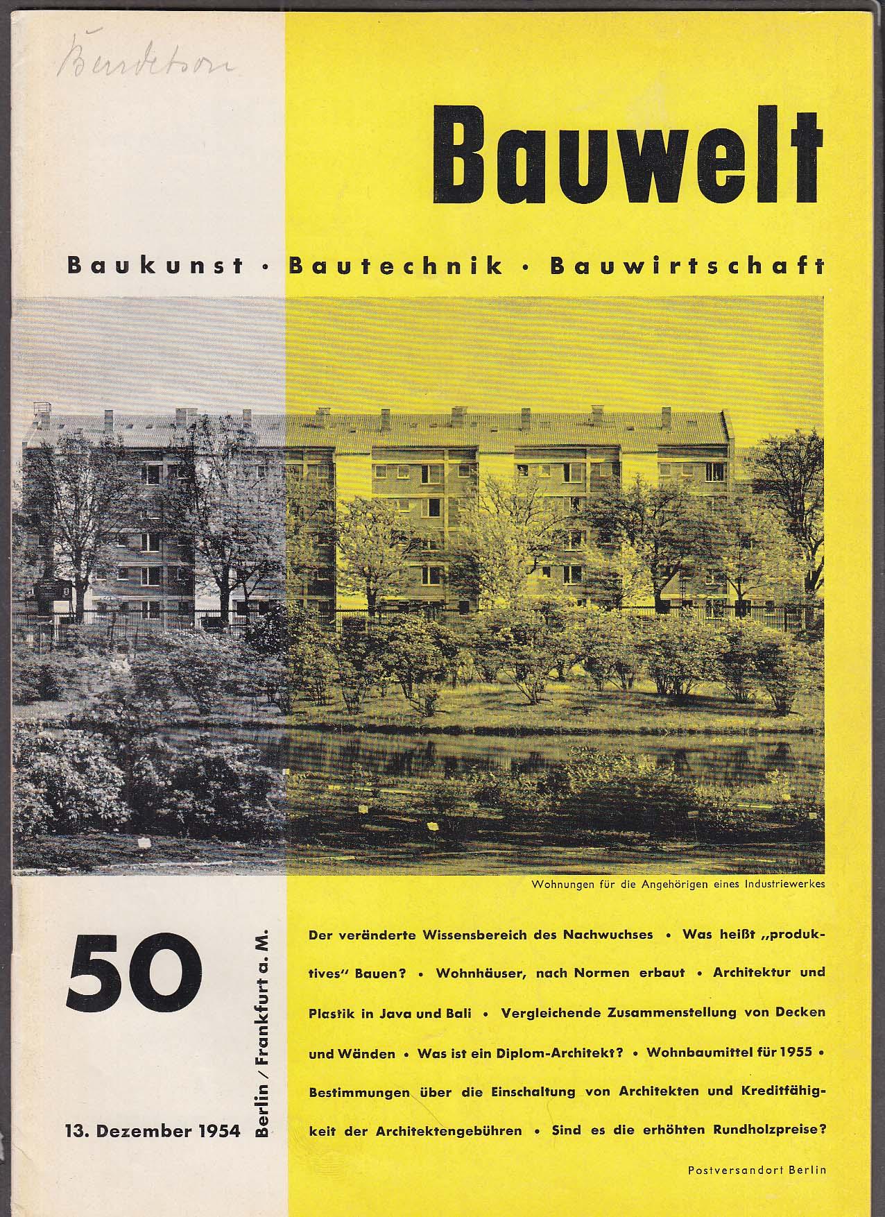 Image for Bauwelt #50 German architecture magazine 12/13 1954