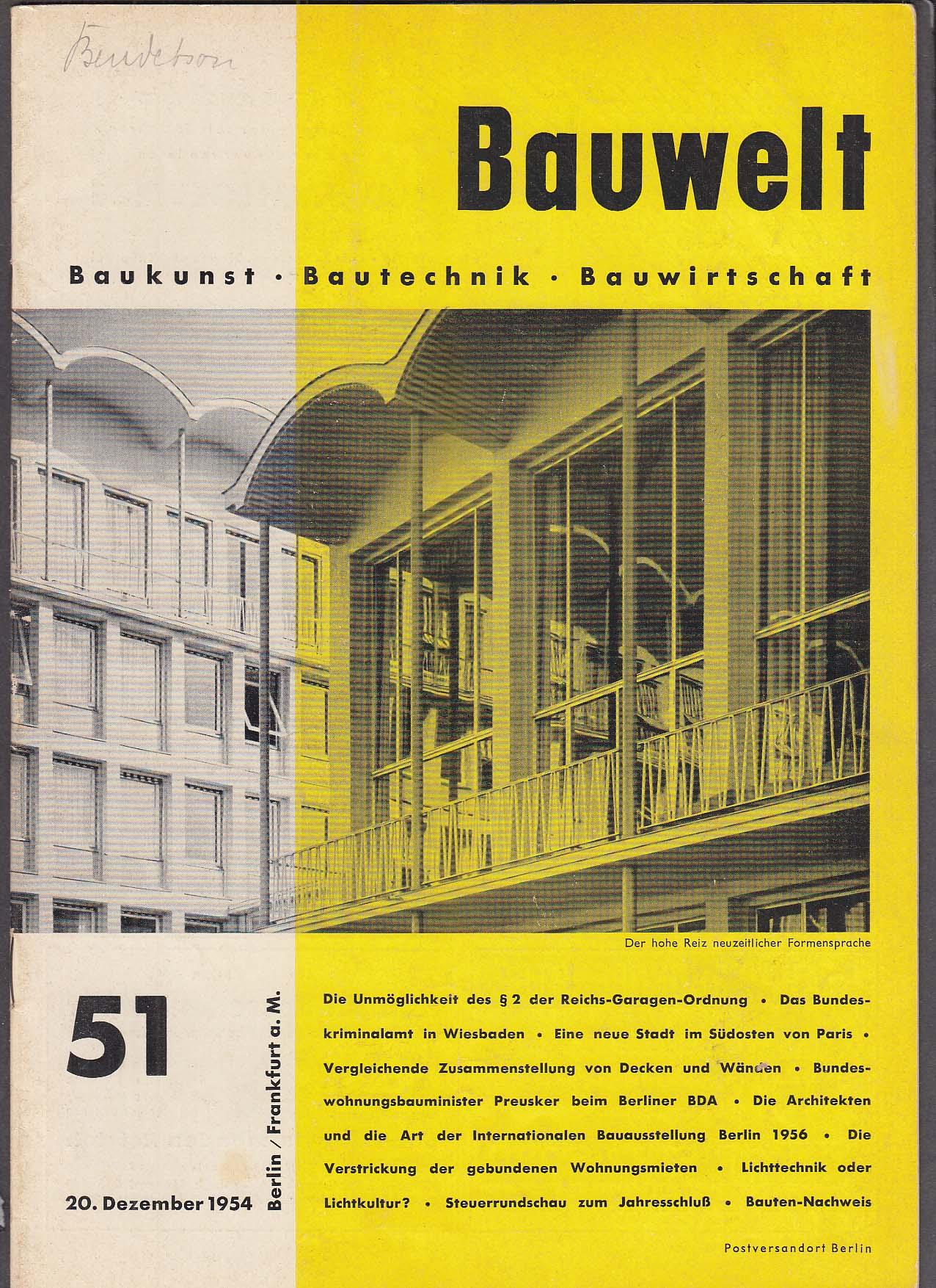Image for Bauwelt #51 German architecture magazine 12/20 1954