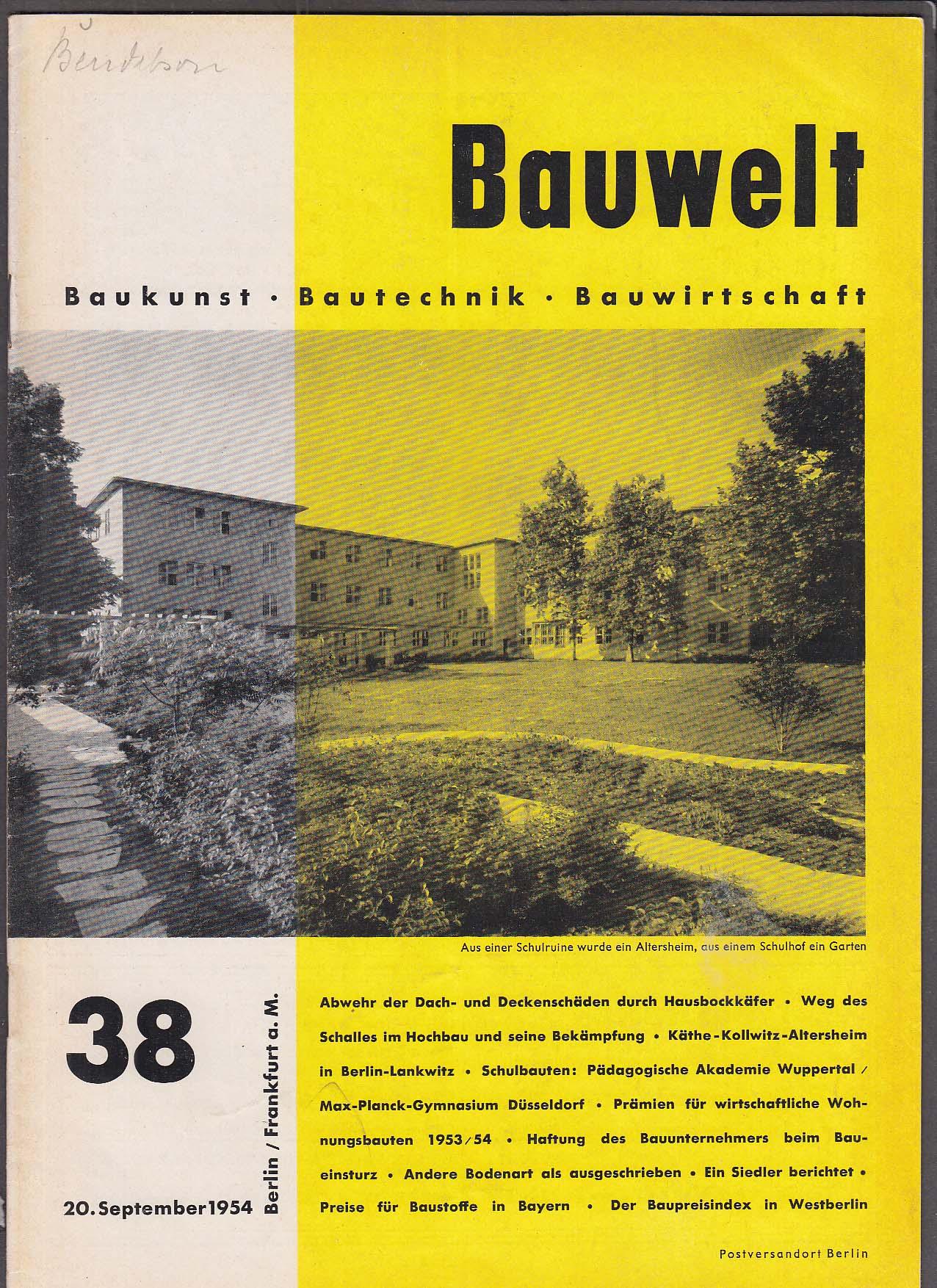 Image for Bauwelt #38 German architecture magazine 9/20 1954