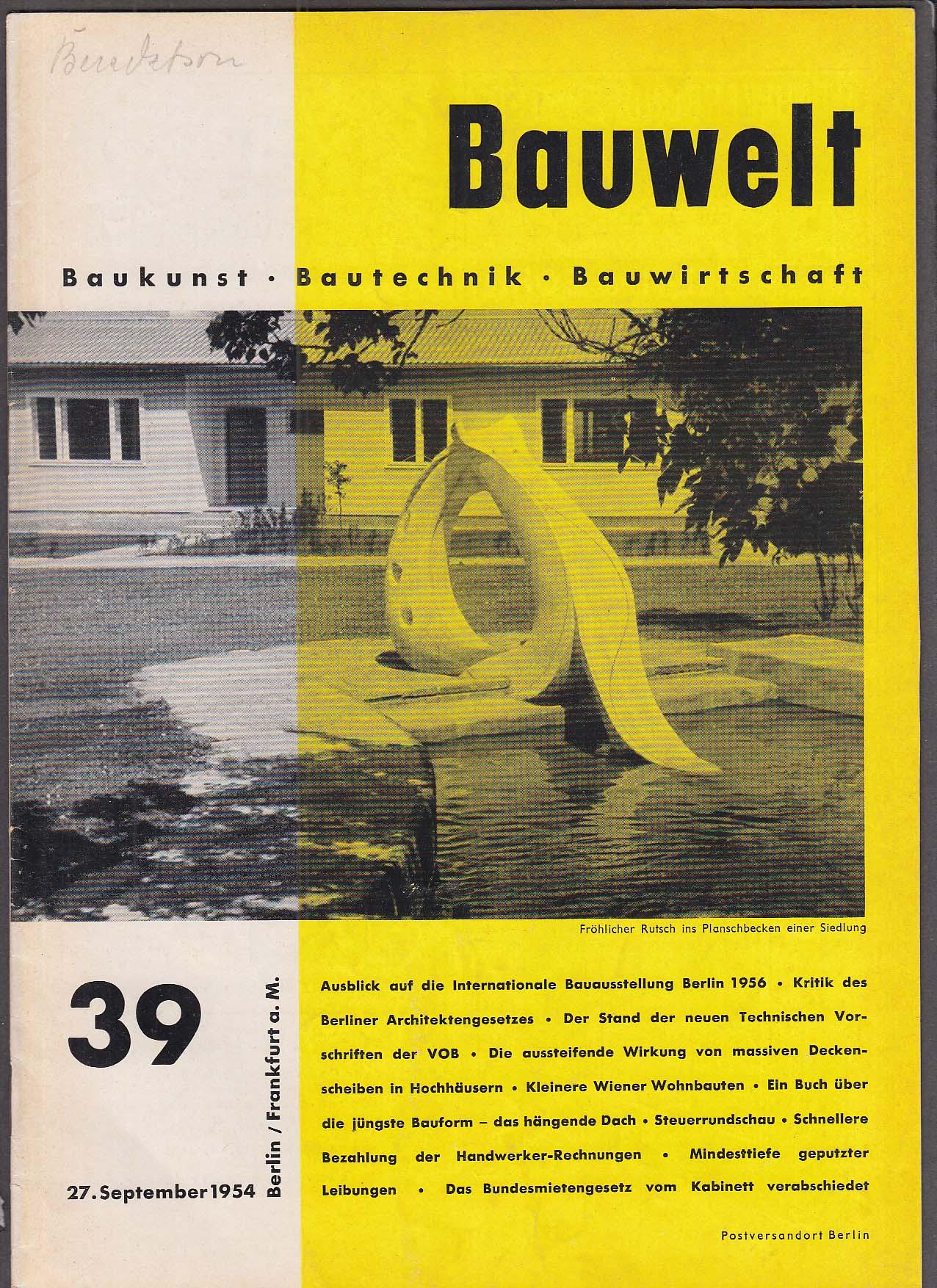 Image for Bauwelt #39 German architecture magazine 9/27 1954