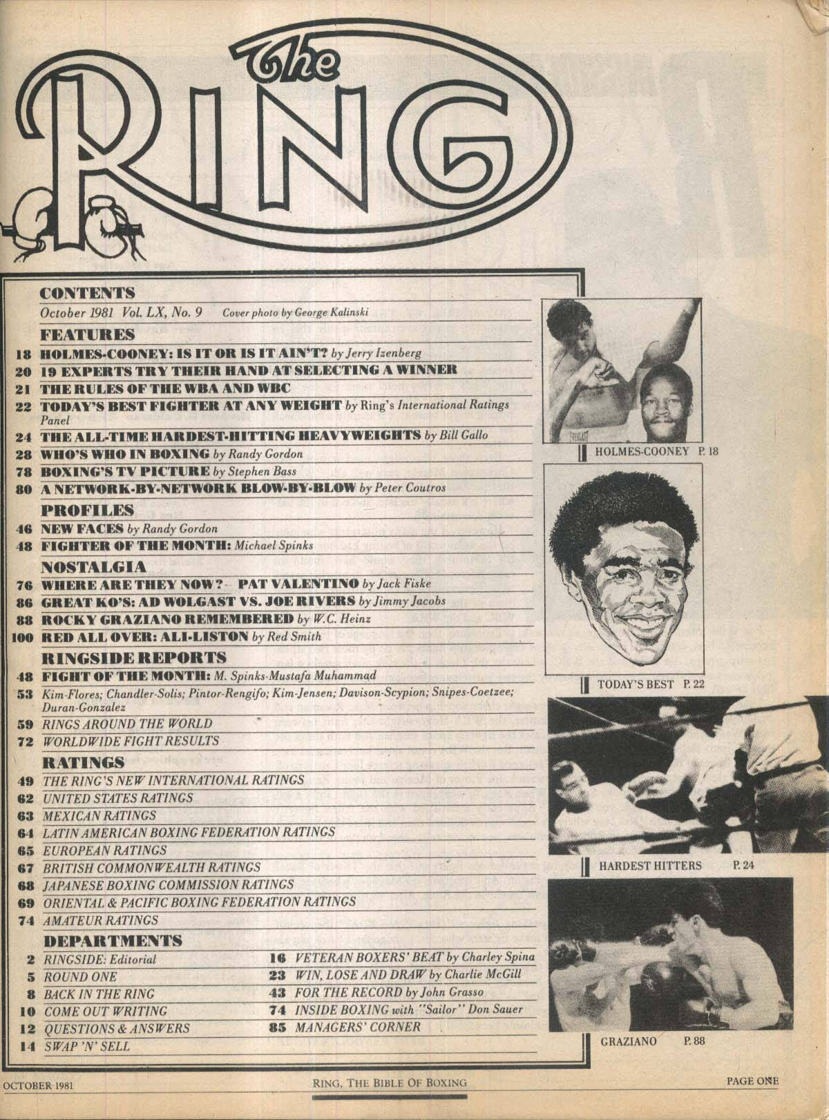 RING Holmes-Cooney Rocky Graziano Who's Who in Boxing 10 1981