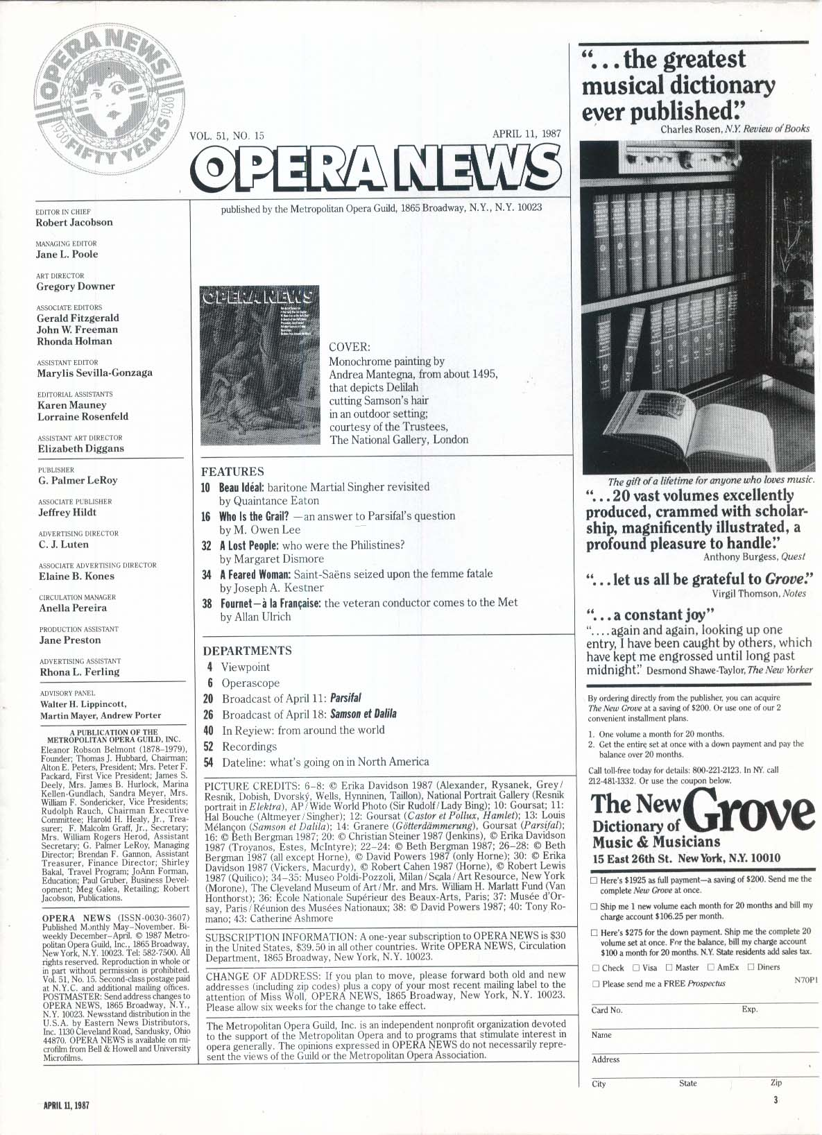 OPERA NEWS Martial Singher interview Jean Fournet Owen Lee 4/11 1987