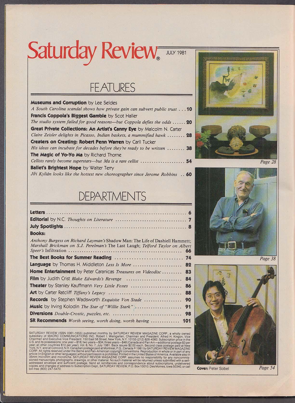 SATURDAY REVIEW Francis Ford Coppola Penn Warren Liz Taylor Brickman ++ 7 1981