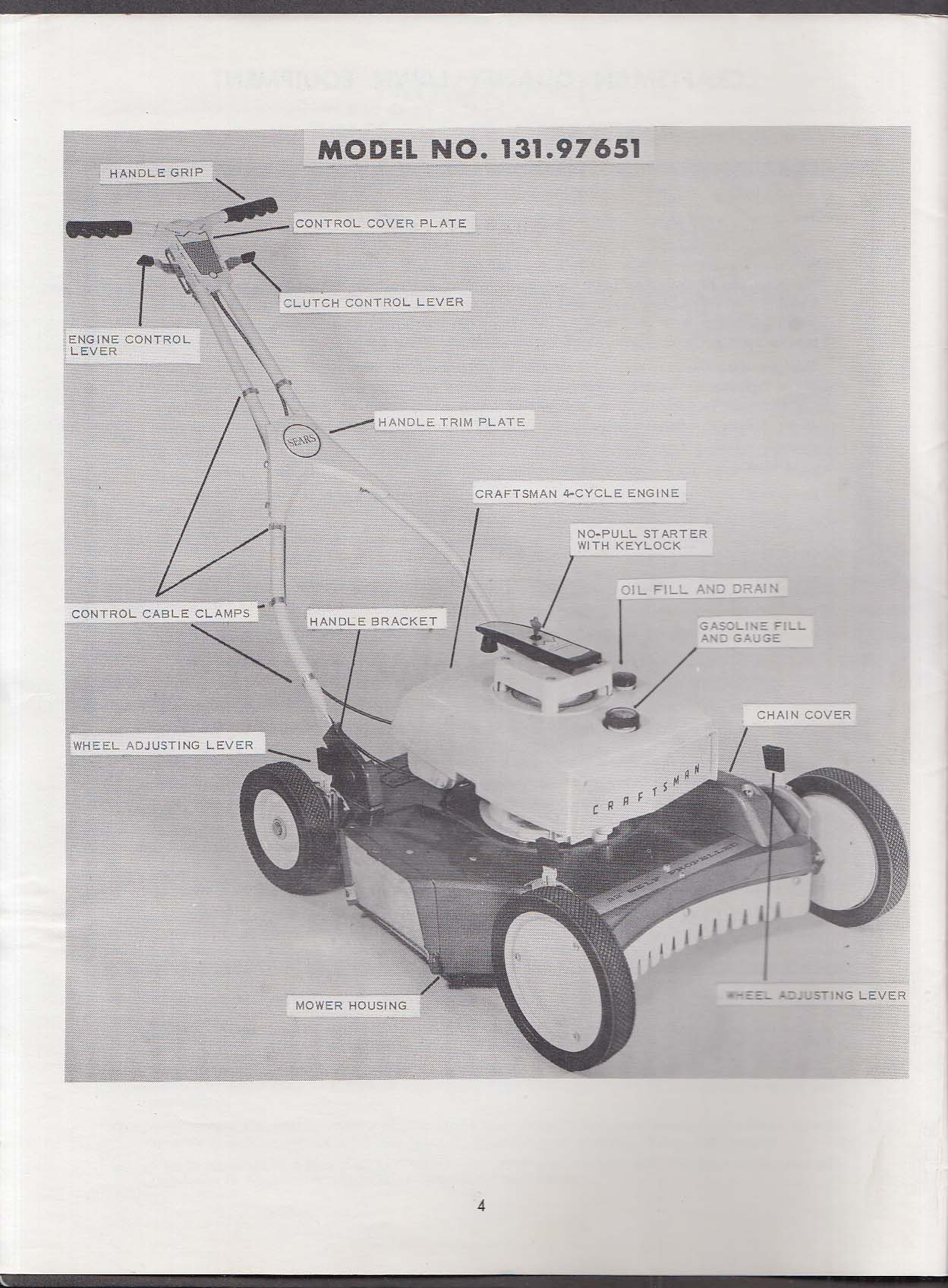 Craftsman Rotary Lawnmower manual Model # 131.97651 1960s