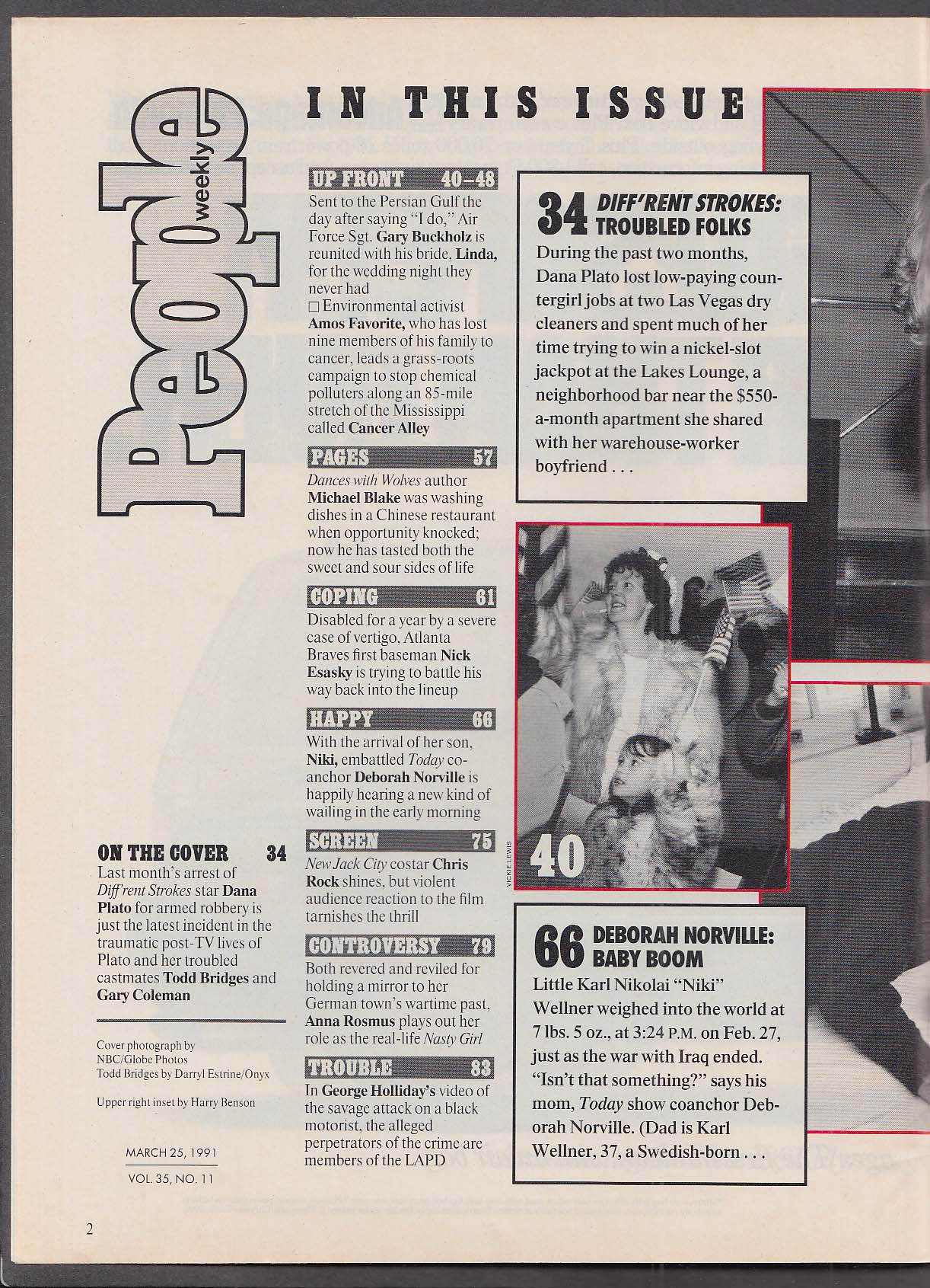 PEOPLE Diff'rent Strokes stars Todd Bridges Gary Coleman Dana Plato 3/25 1991