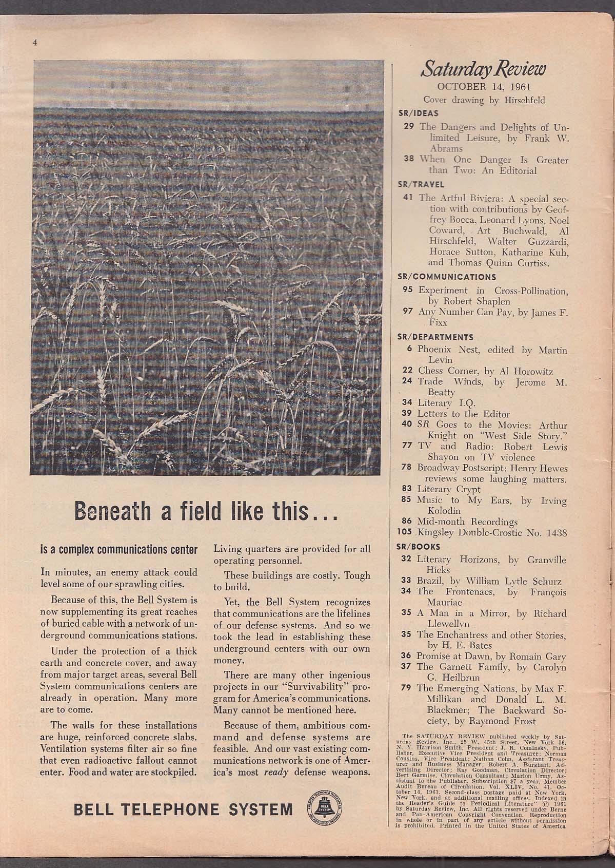Image for SATURDAY REVIEW Picasso Hirschfeld Riviera Noel Coward Art Buchwald + 10/14 1961