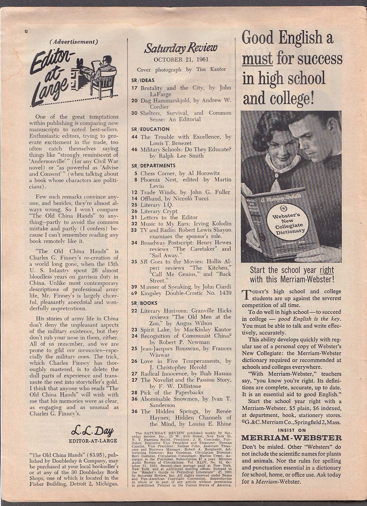 Image for SATURDAY REVIEW Spirit Lake MacKinlay Kantor review + 10/21 1961