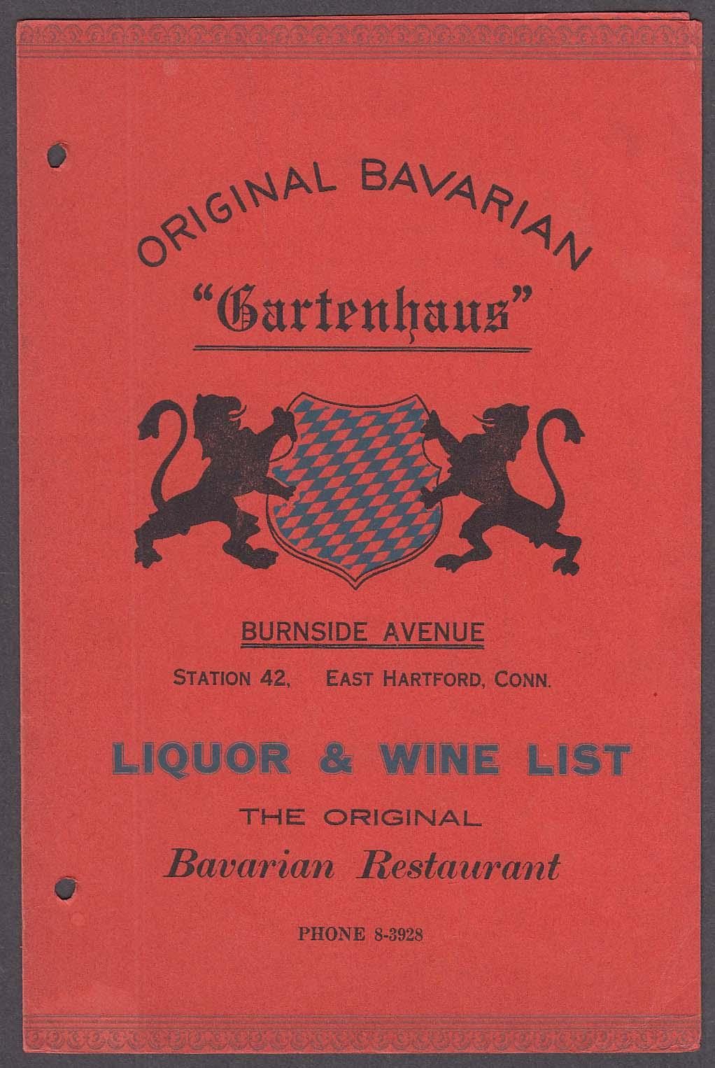 Image for Original Bavarian Gartenhuas Burnside East Hartford CT Liquor & Wine Menu 1940s
