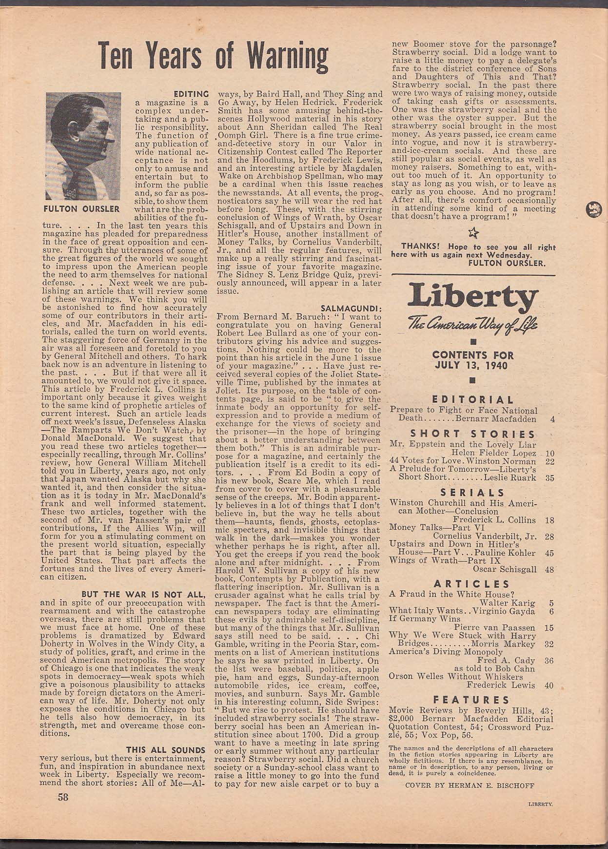 LIBERTY Bischoff pin-up cover Winston Churchill Bernarr Macfadden ++ 7/13 1940