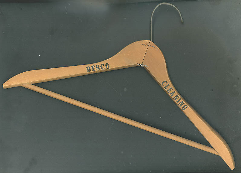 Desco Cleaning advertising coathanger 1940s