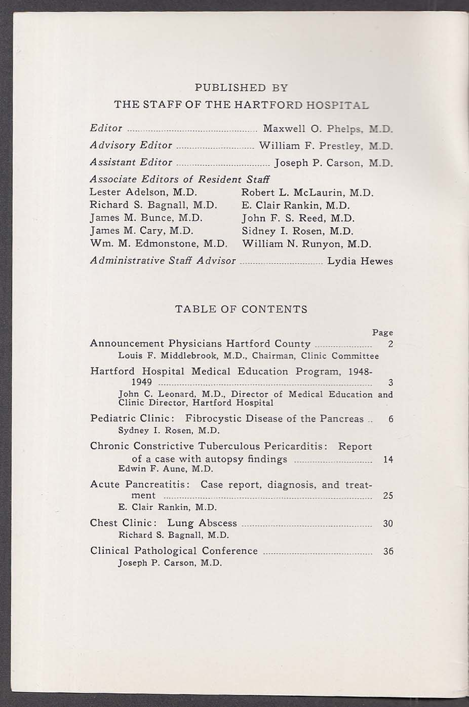 HARTFORD HOSPITAL BULLETIN Pancreatic Fibrocysts tuberulous pericarditis 10 1948