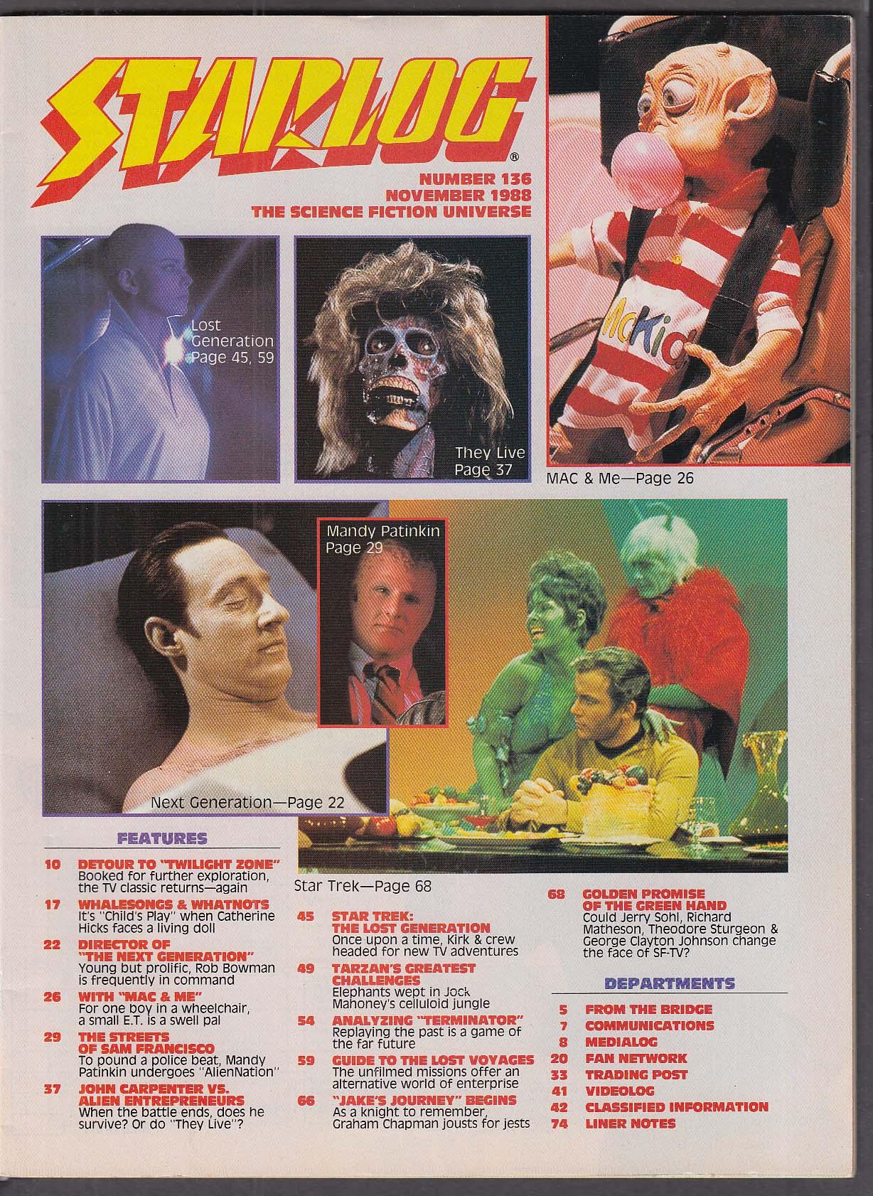 STARLOG #136 Star Trek Alien Nation John Carpenter's They Live ++ 11 1988