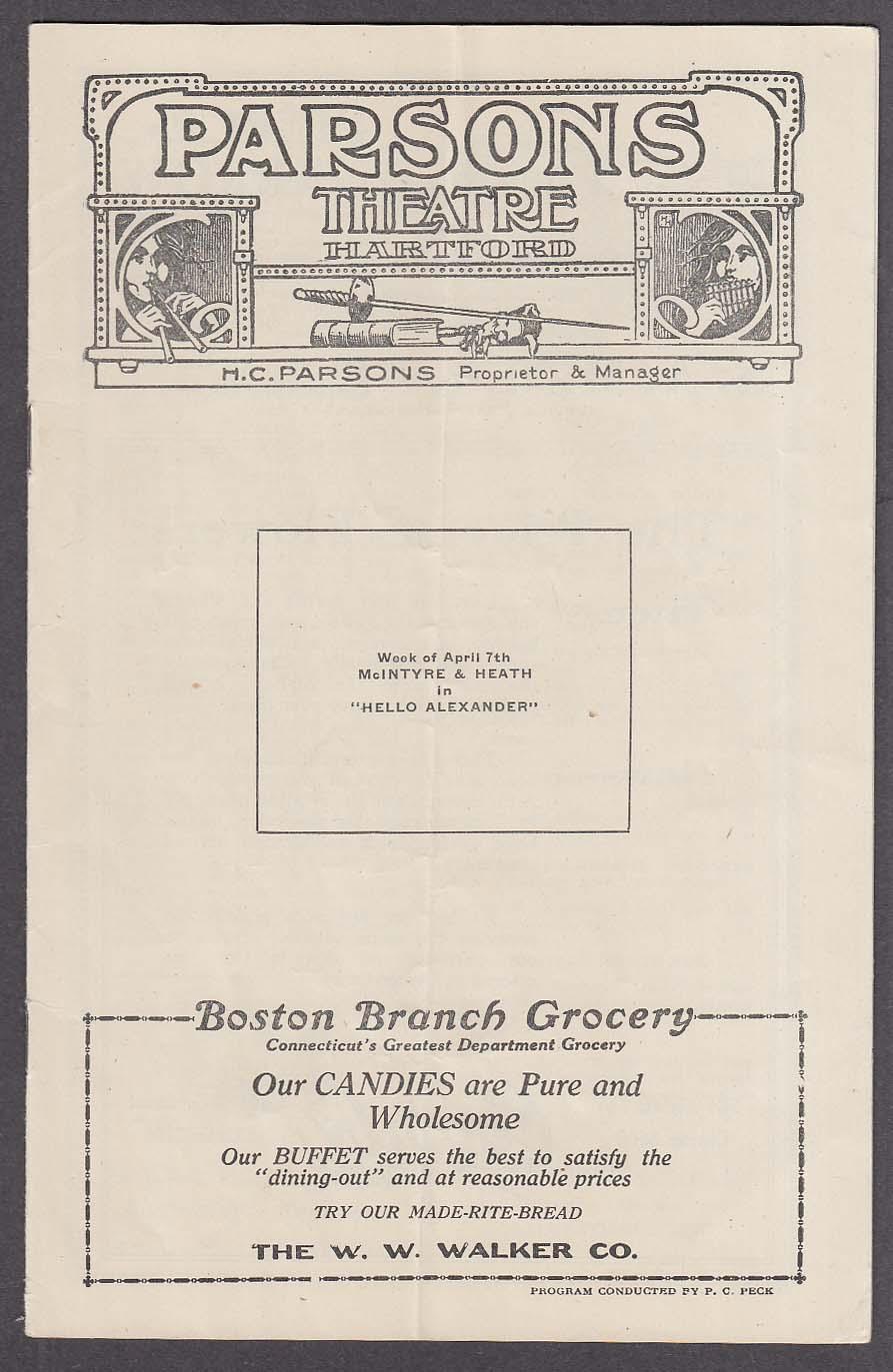 Image for Parsons Theatre program Hartford CT 4/7 1919 McIntyre Heath Hello Alexander