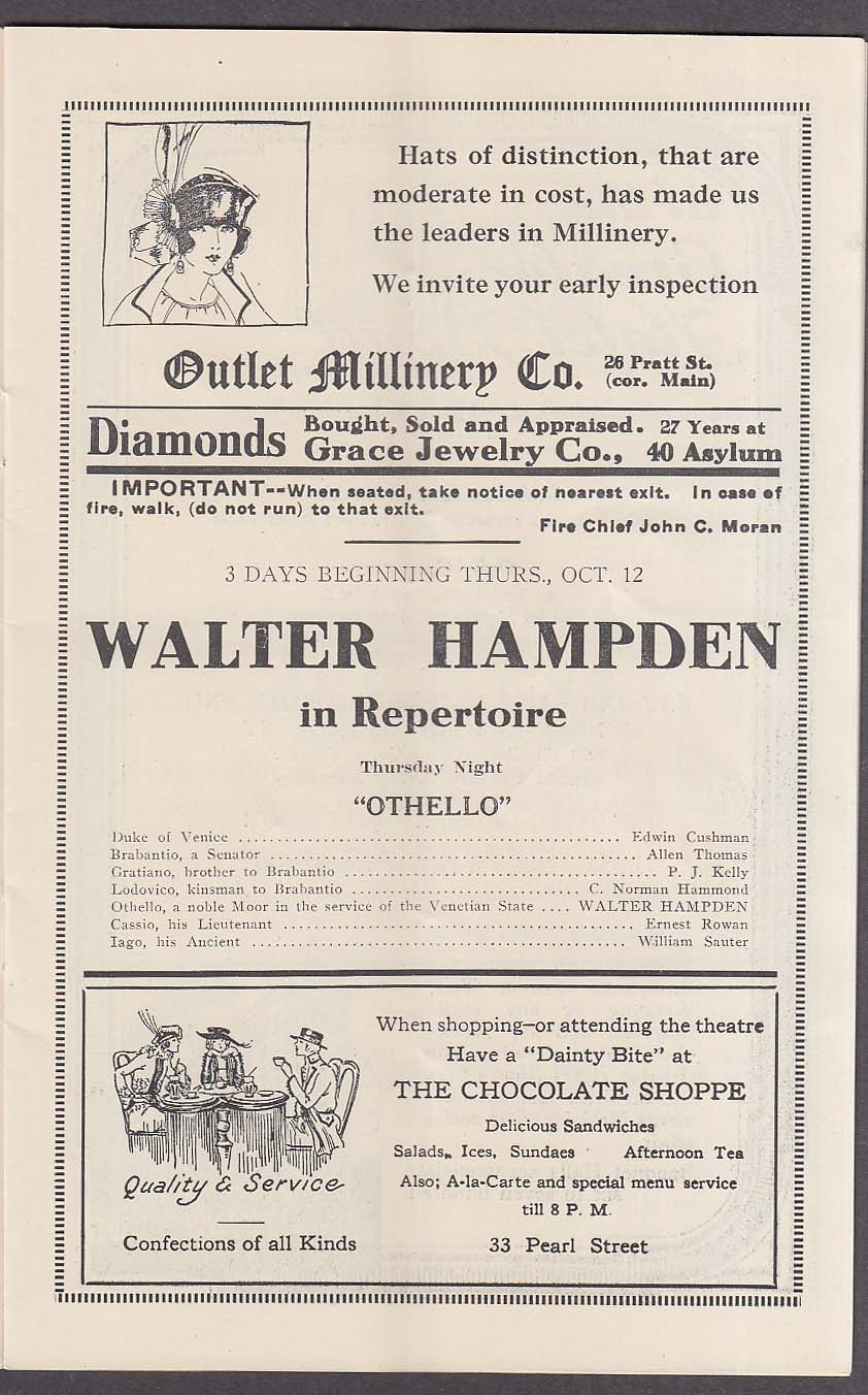 Image for Parsons Theatre program Hartford CT 10/12 1922 Walter Hampden Othello
