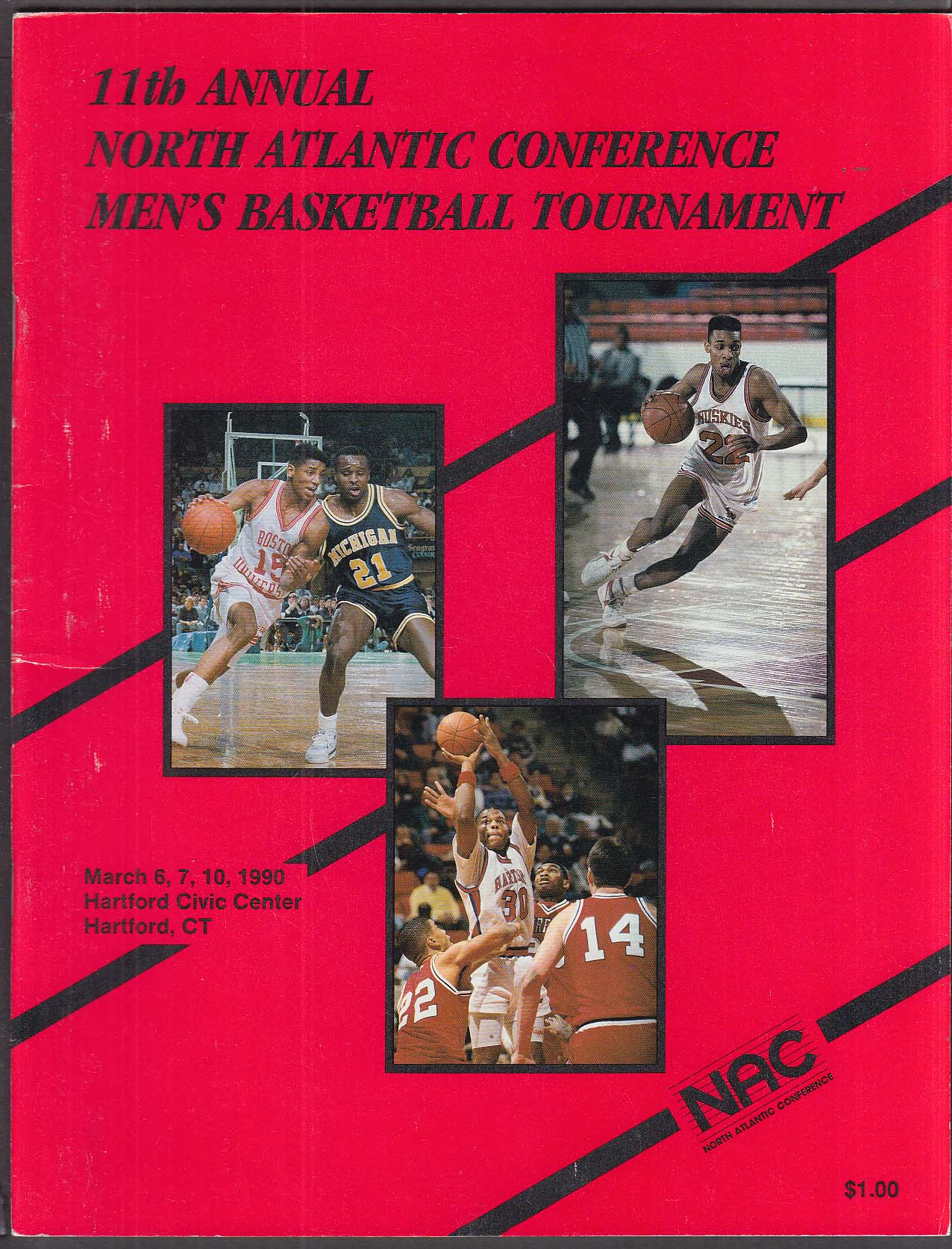 11th Annual North Atlantic Conference Men's Basketball Tournament Program 1990