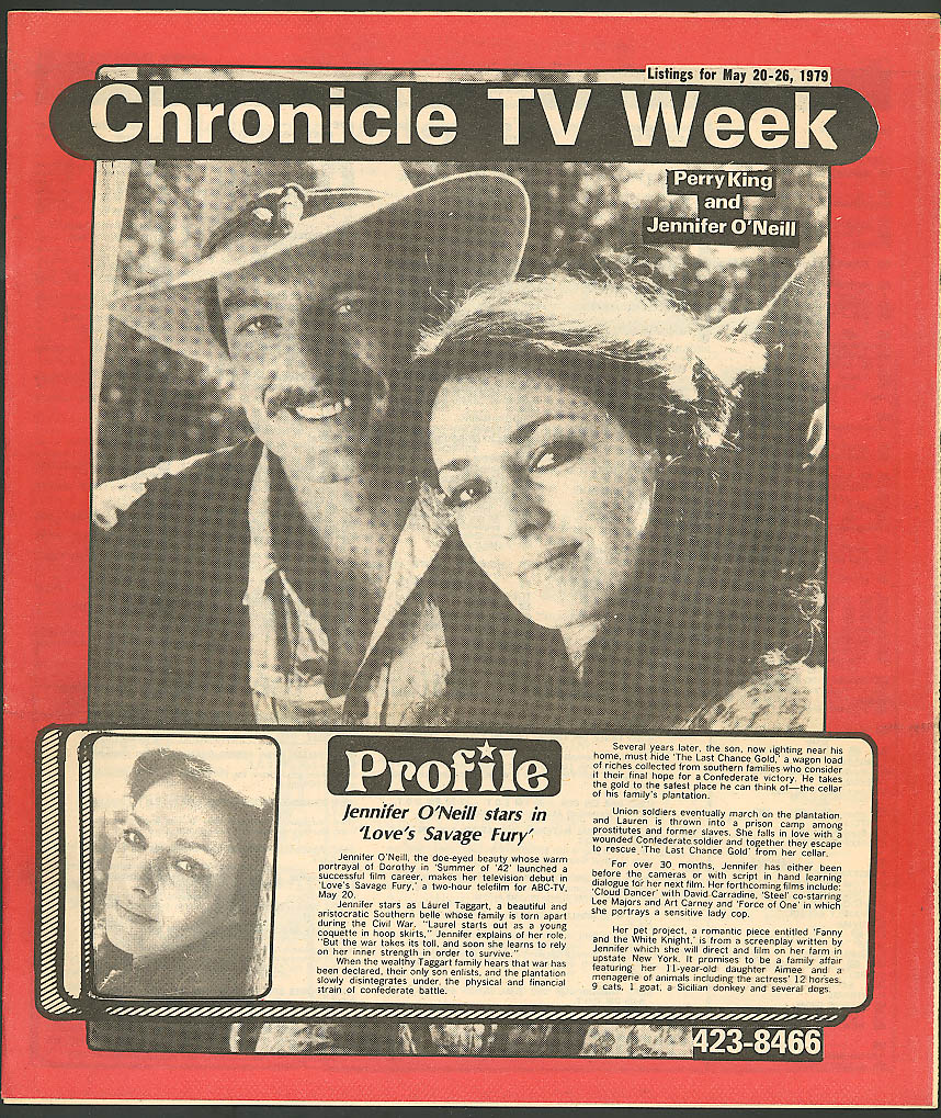 CHRONICLE TV WEEK Jennifer O'Neill Perry King 5/20 1979