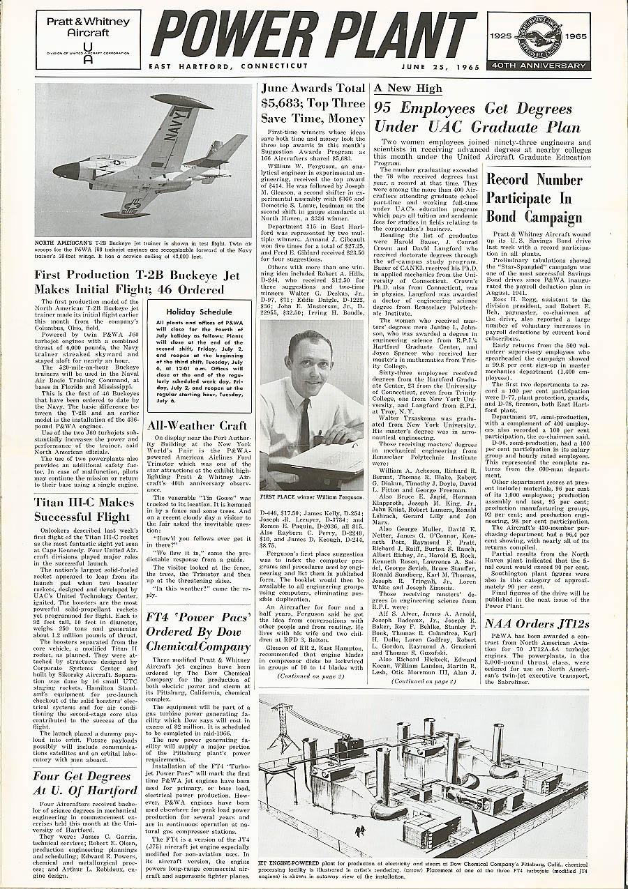 POWER PLANT North American T-2B Titan Buckeye Pratt & Witney Aircraft 6/25 1965