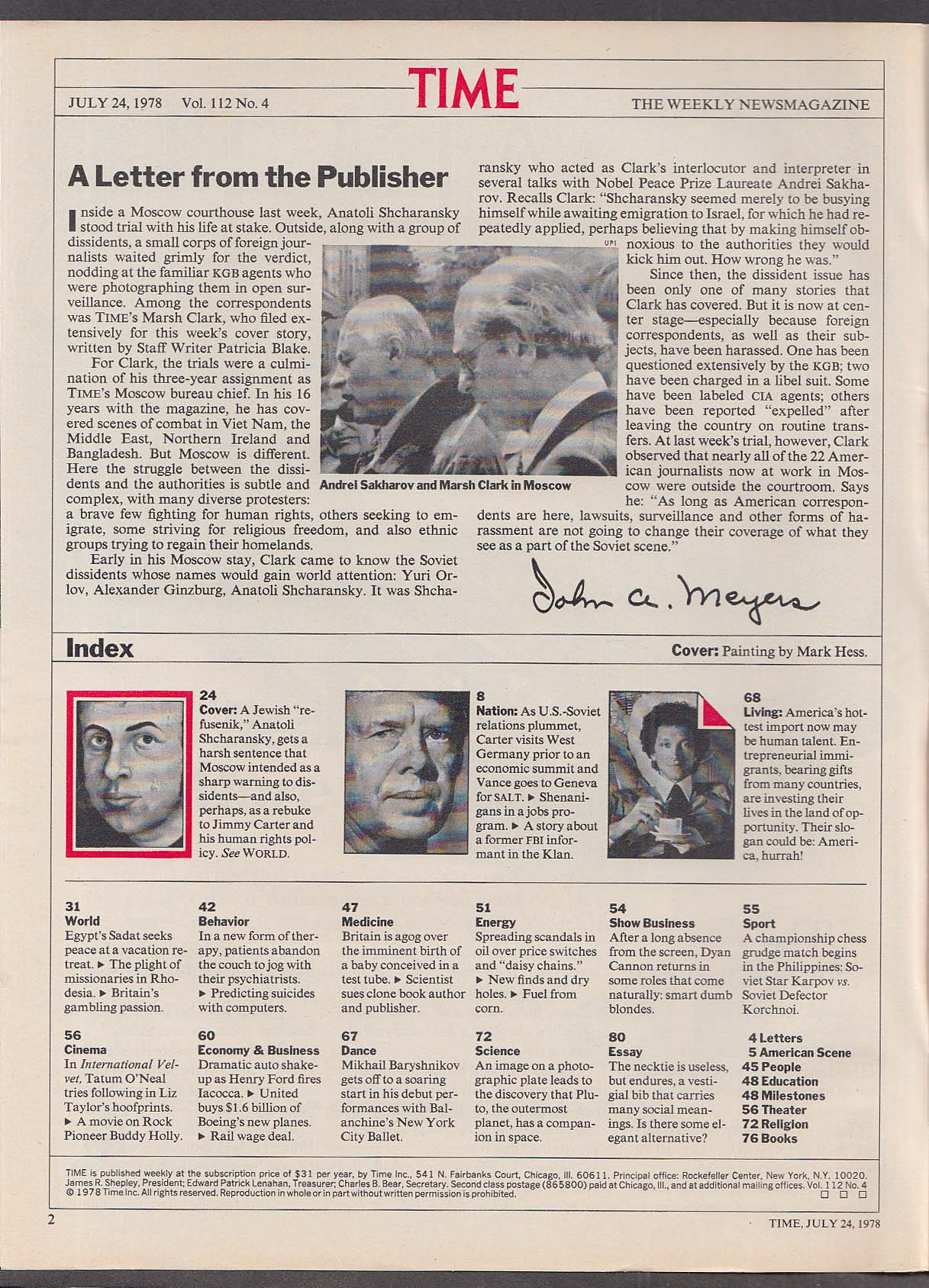 TIME Anatoli Shcharansky Trial Jimmy Carter Sadat 7/24 1978