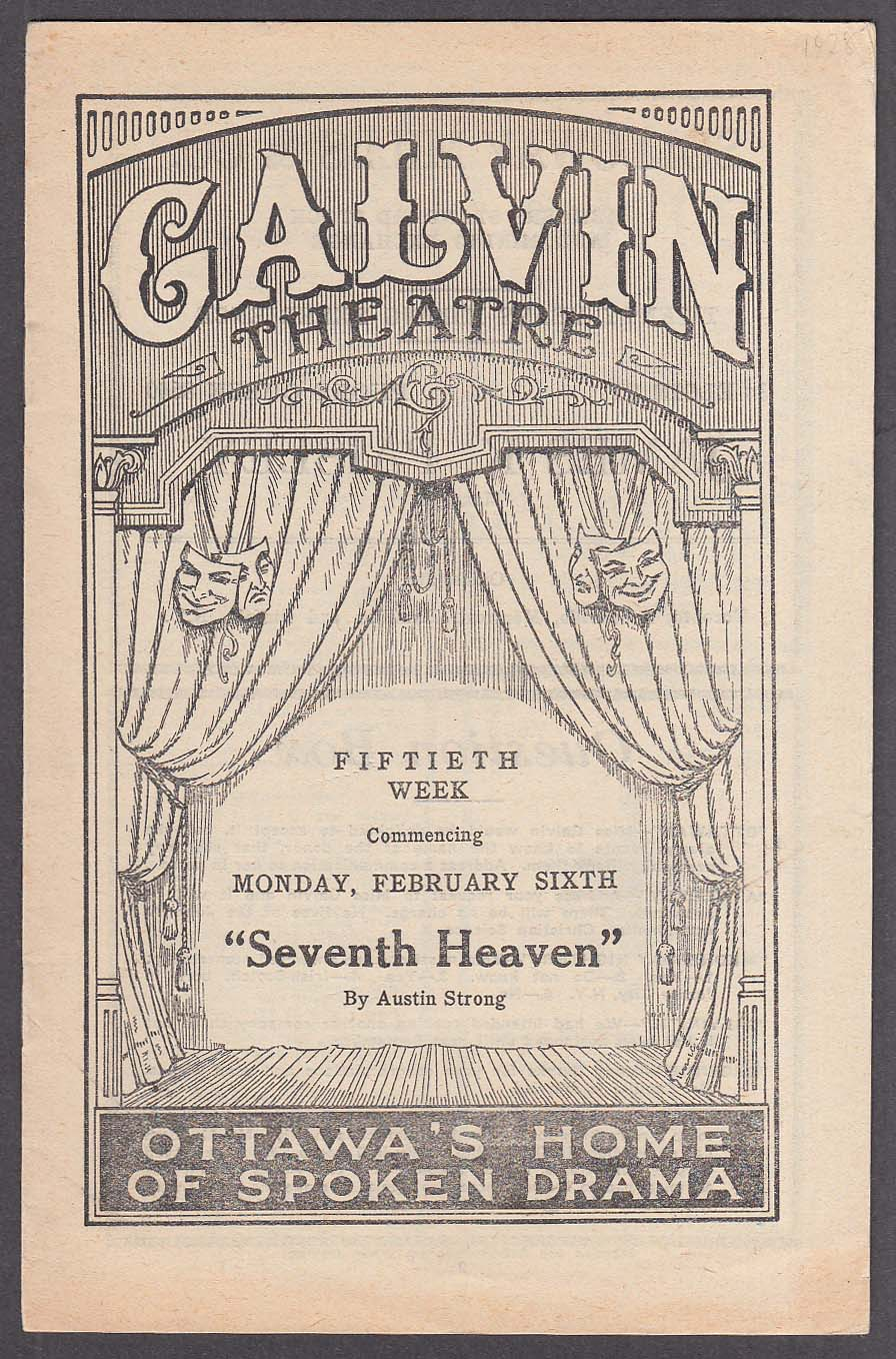7th Heaven Galvin Theatre Ottawa program 1928