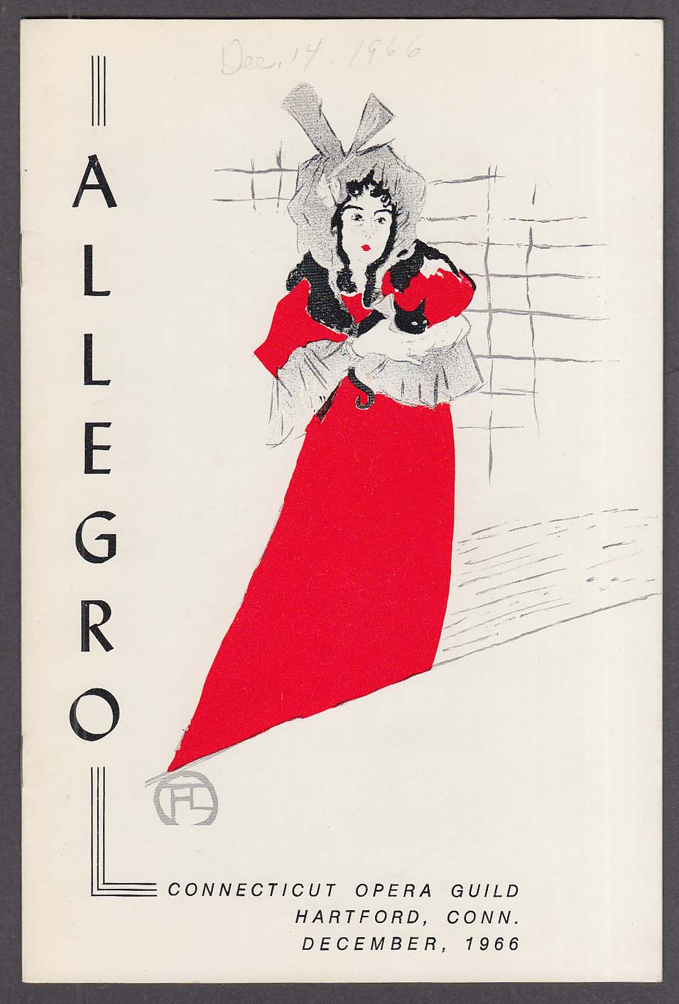 Connecticut Opera Guild Allegro Hartford Mirella Freni La Boheme 12 1966 program