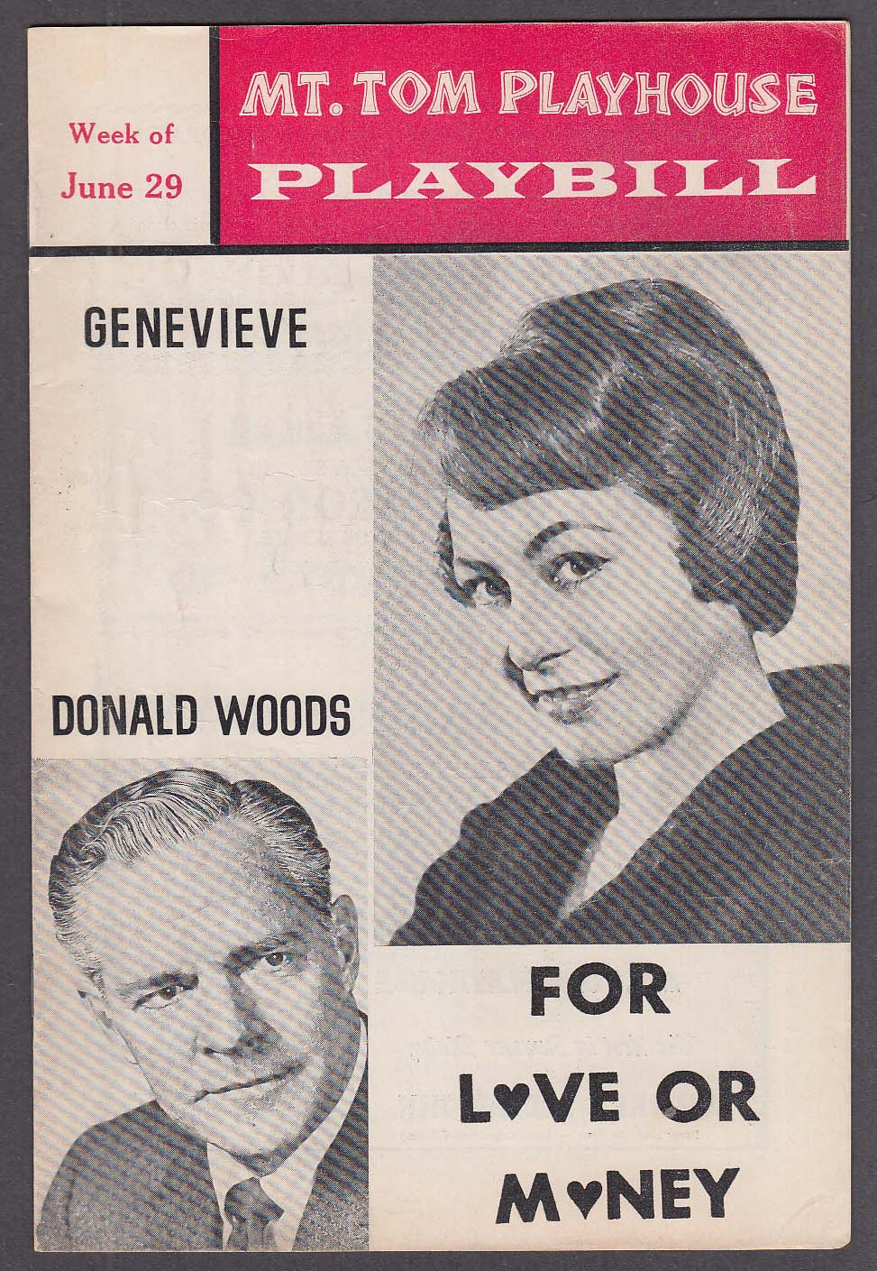 Genvieve & Donald Woods in For Love or Money Mt Tom Playhouse Playbill 6/29 1964