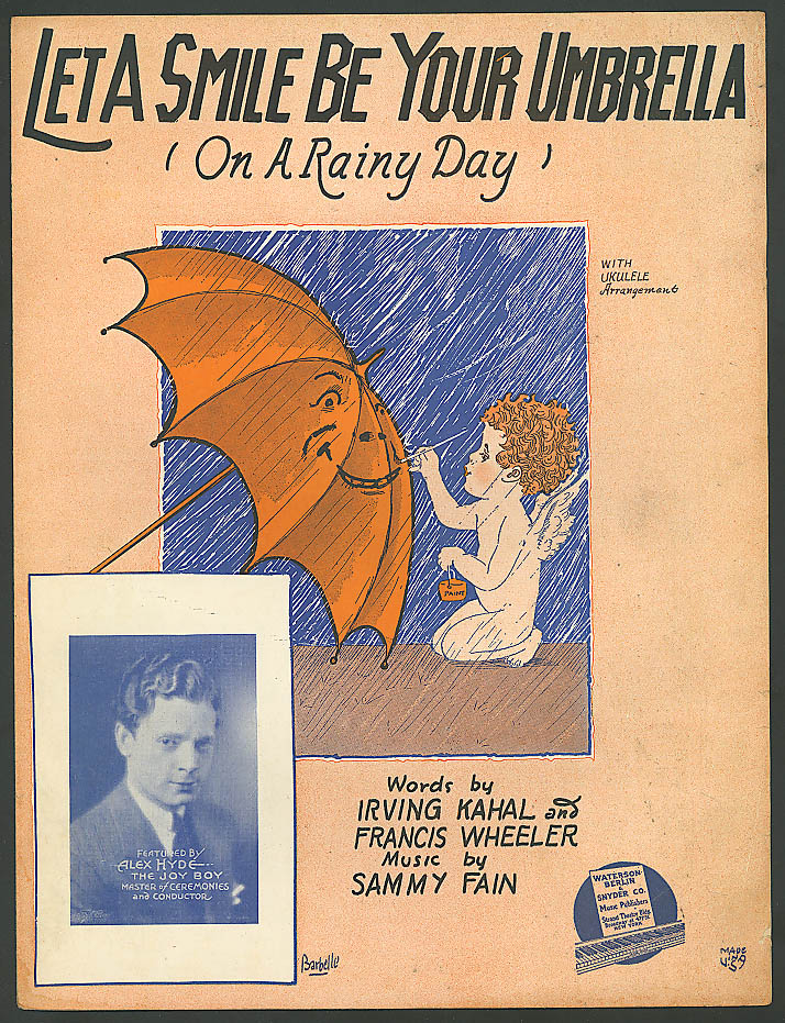 Let A Smile Be Your Umbrella sheet music 1927 Barbelle art