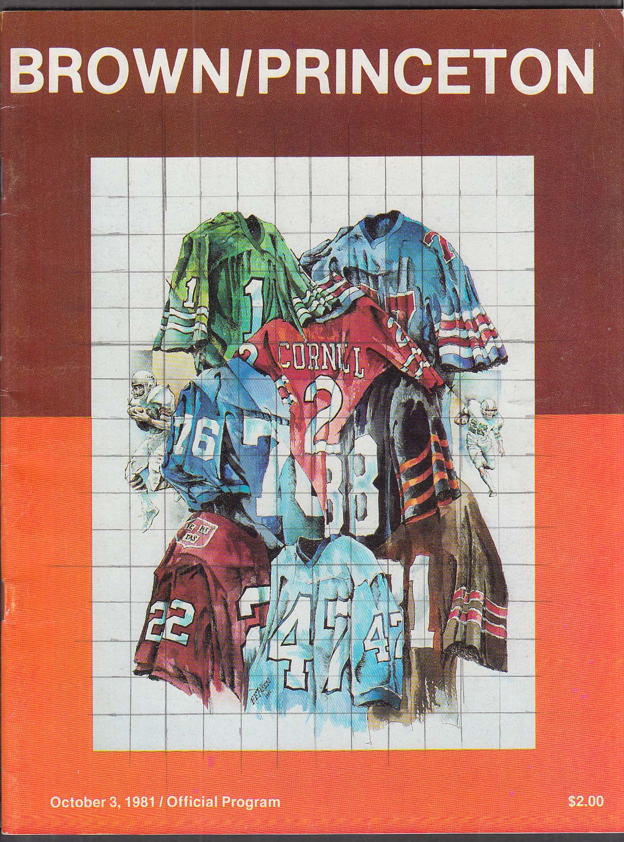 Brown vs Princeton Official Football Program 10/3/1981 UNSCORED